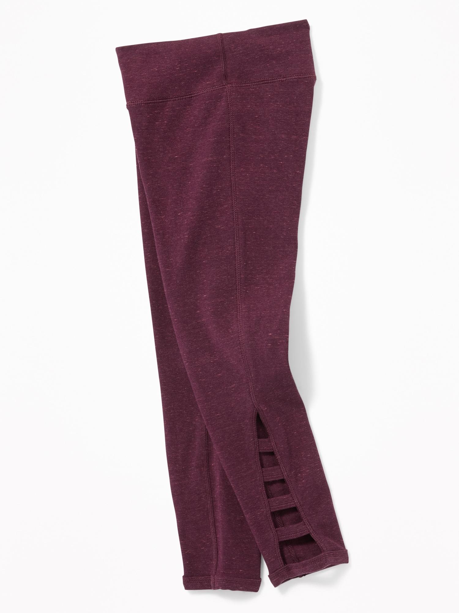 7/8 Length Lattice Hem Leggings For Girls by Old Navy