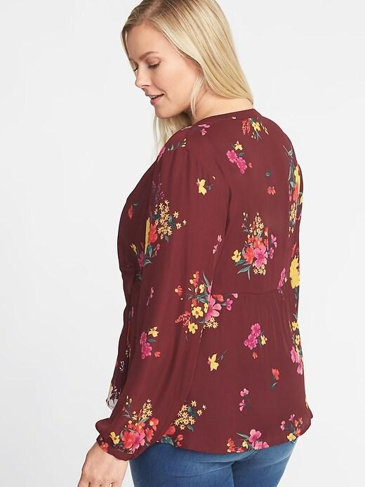 99712b32bbc Floral-Print Georgette Plus-Size Swing Top
