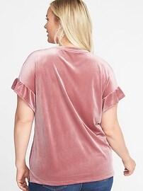 Old Navy Women Velvet Ruffle Sleeves Tee Top Plus 1X 2X Glitter Blue Pink