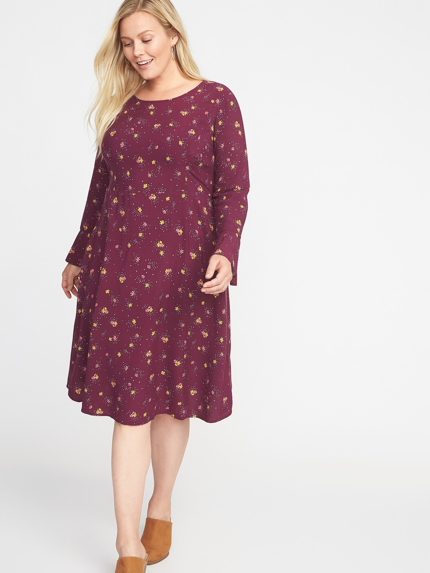 a7696ad28ba Fit   Flare Flute-Sleeve Plus-Size Dress