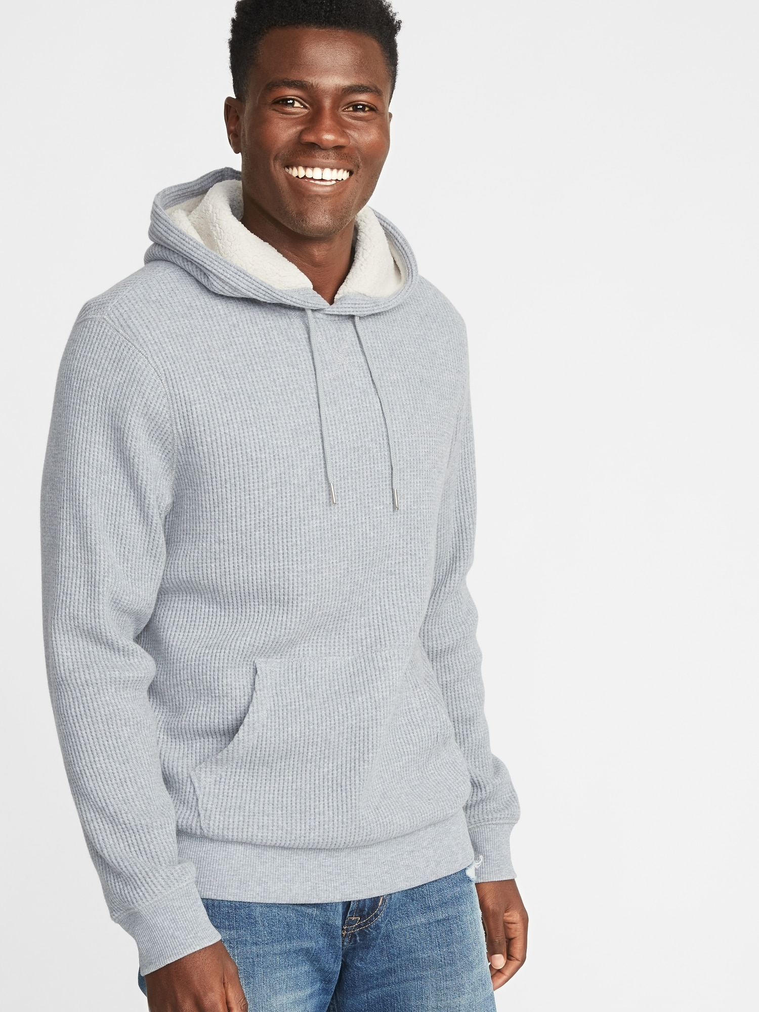 Sherpa Lined Thermal Knit Pullover Hoodie For Men Old Navy