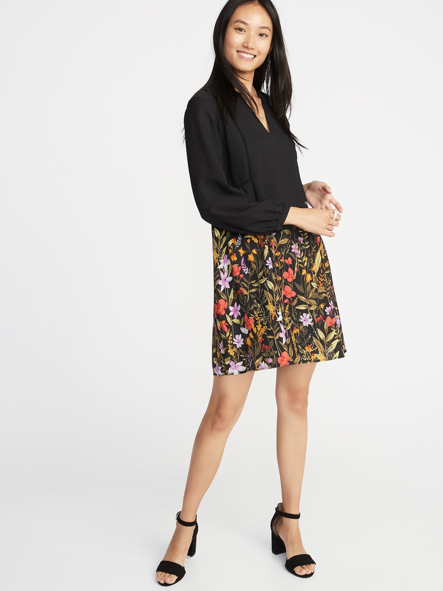 Floral Print Georgette Swing Dress For Women Old Navy Sabrina Sleeves