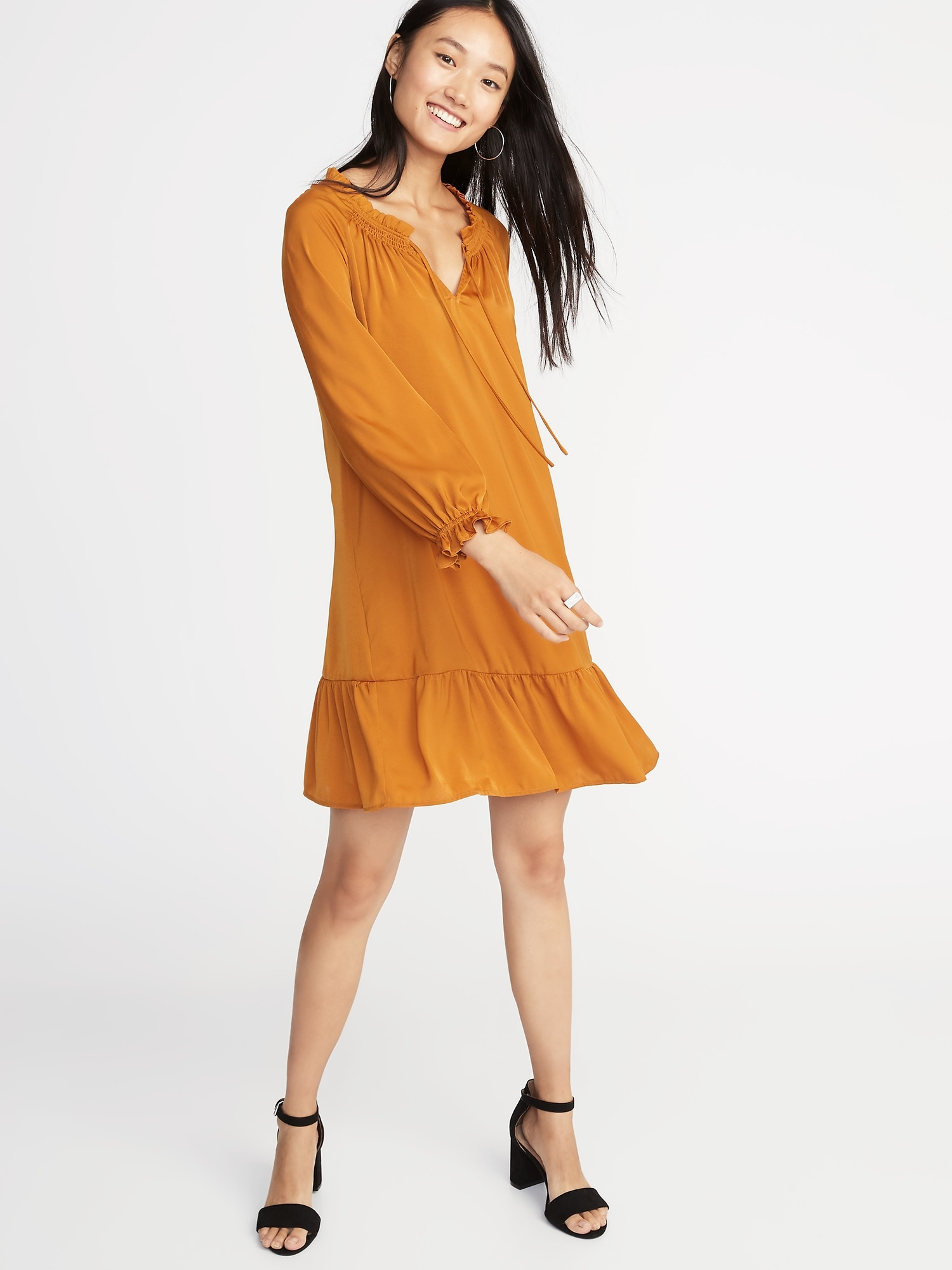 04558492 Satin Poet-Sleeve Swing Dress for Women | Old Navy