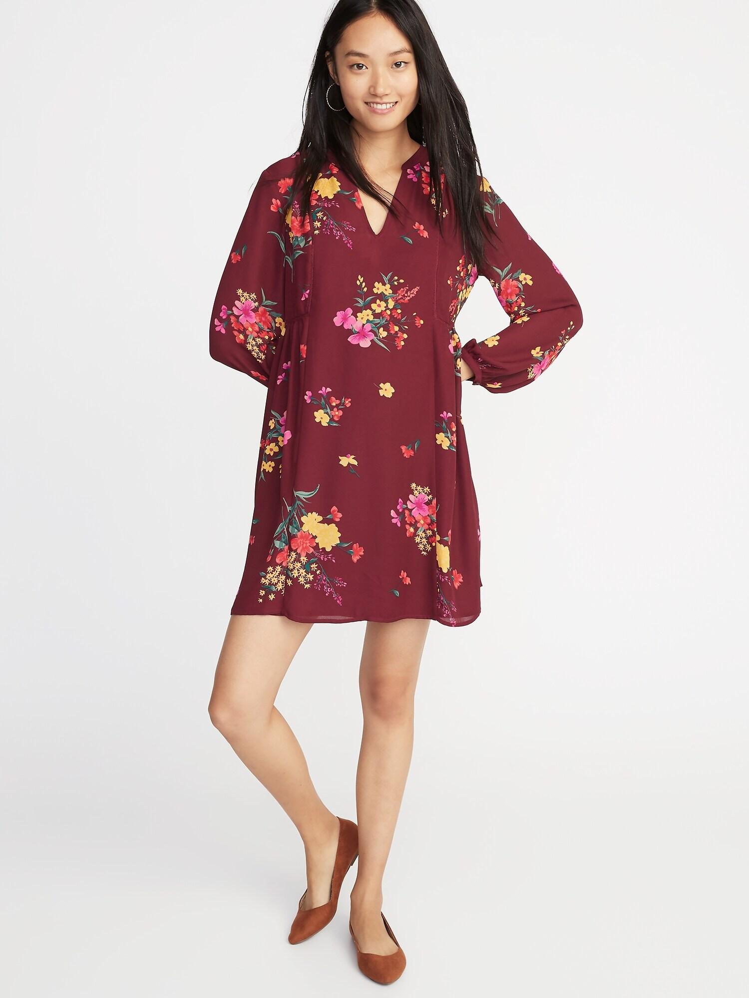015c90de3d8 Floral-Print Georgette Swing Dress for Women