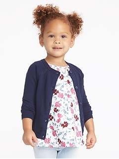 Button-Front Crew-Neck Cardigan for Toddler Girls