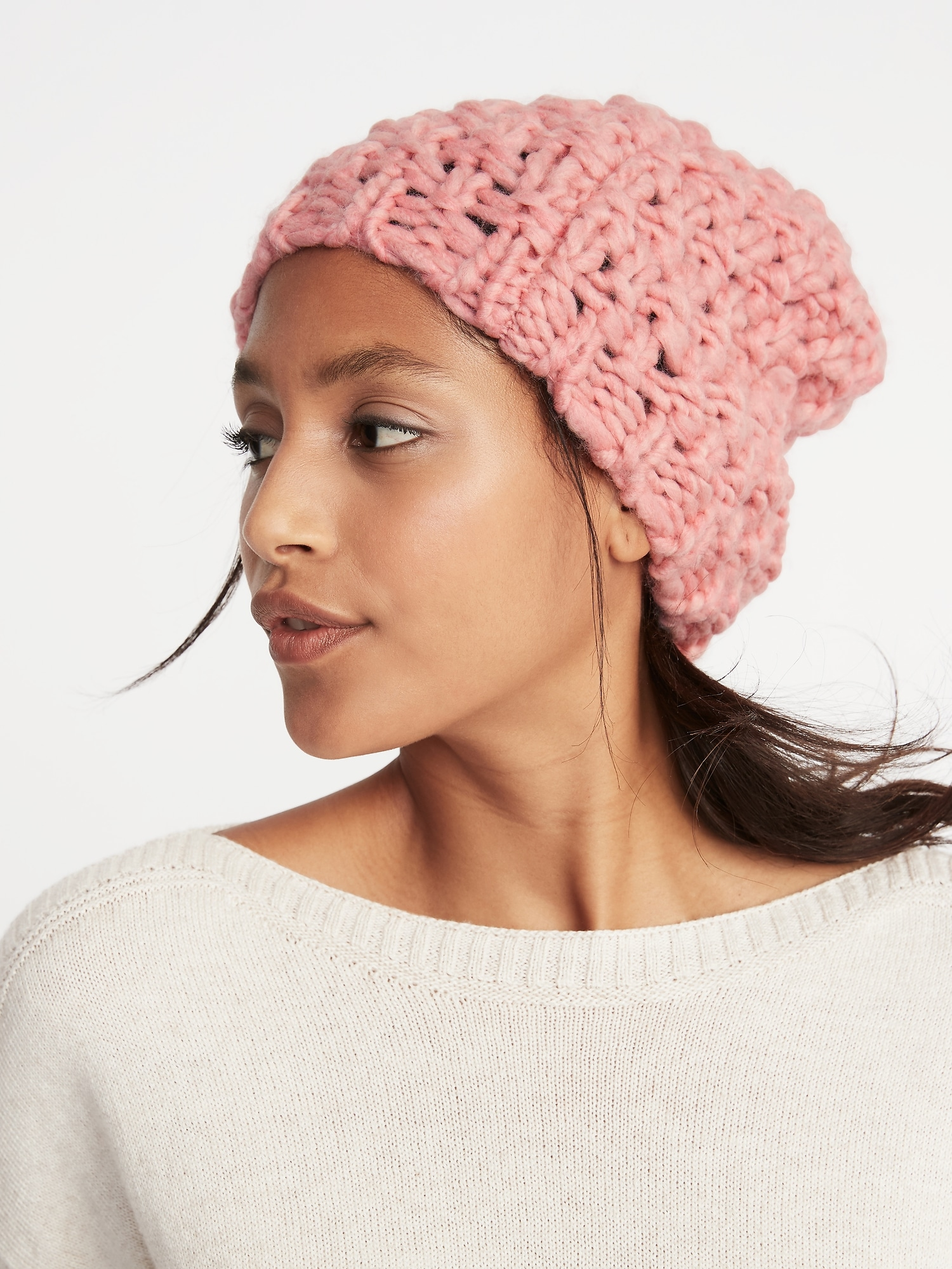 baa52e19201 Textured Basket-Weave Beanie for Women