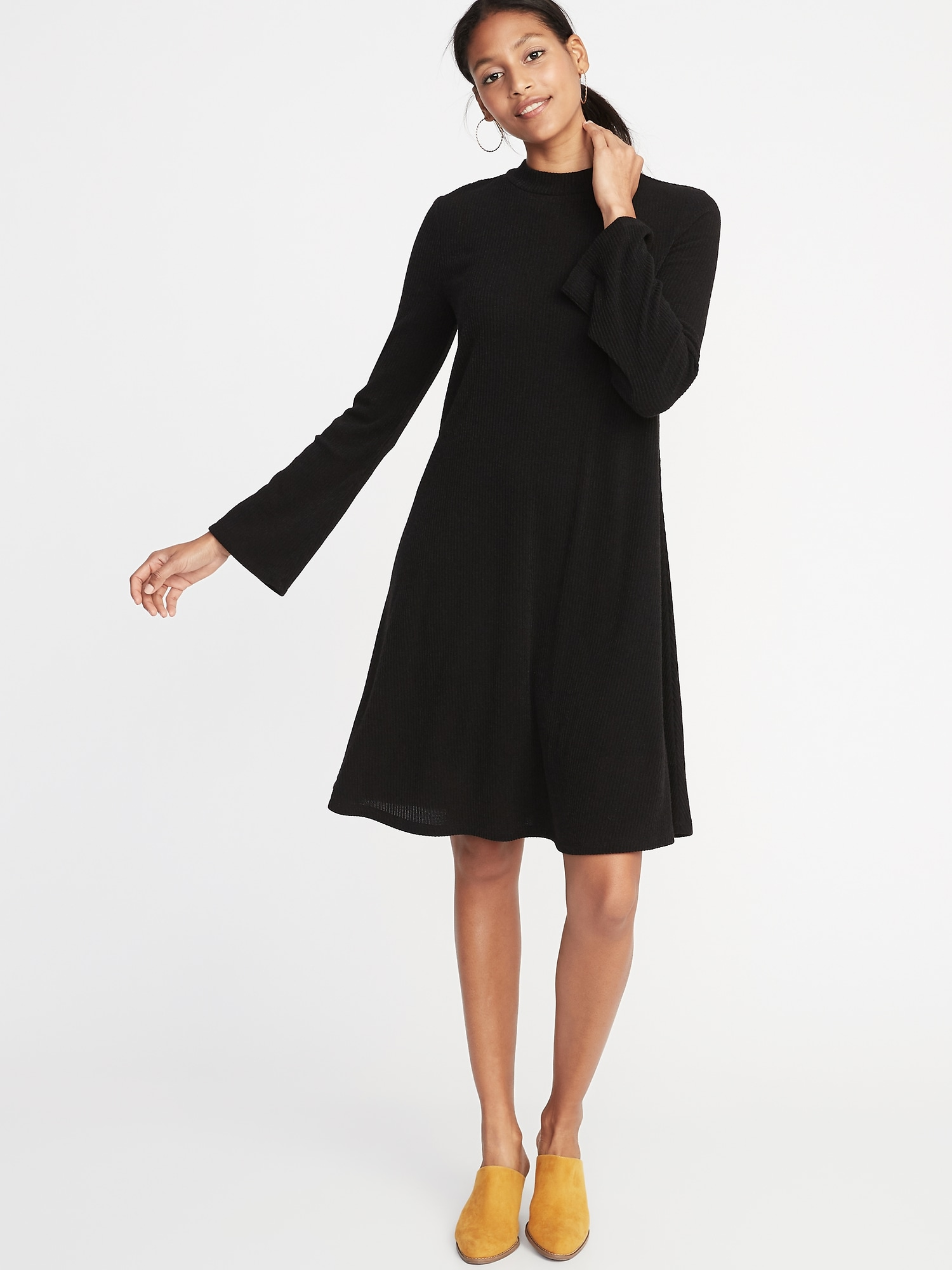 692e86371321 Mock-Neck Rib-Knit Swing Dress for Women | Old Navy