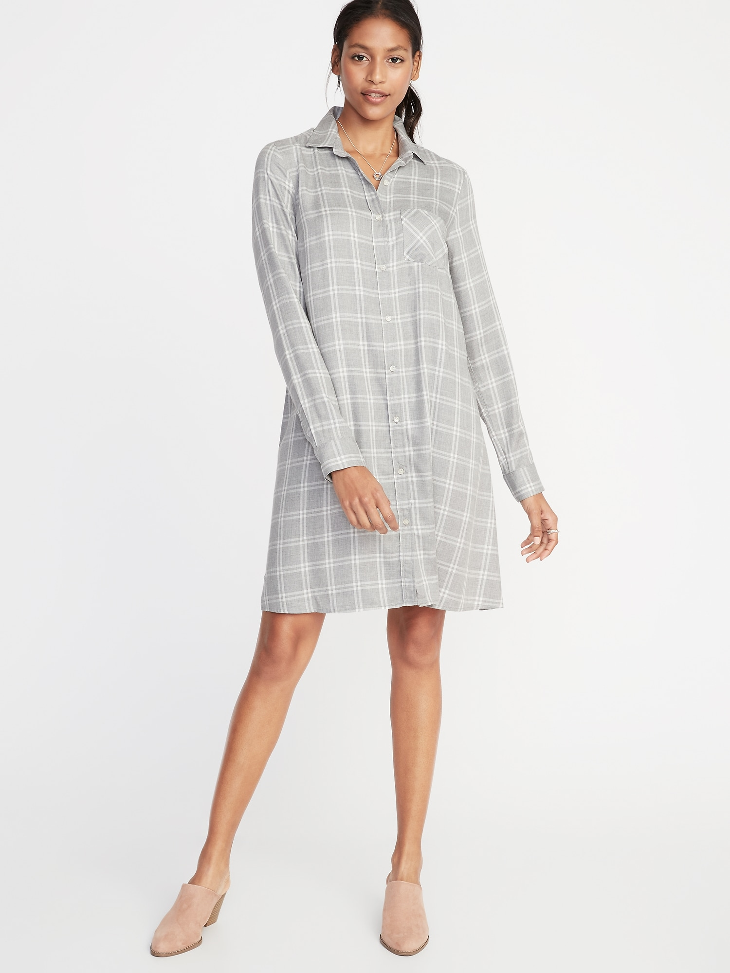 Plaid Gray Shirtdress