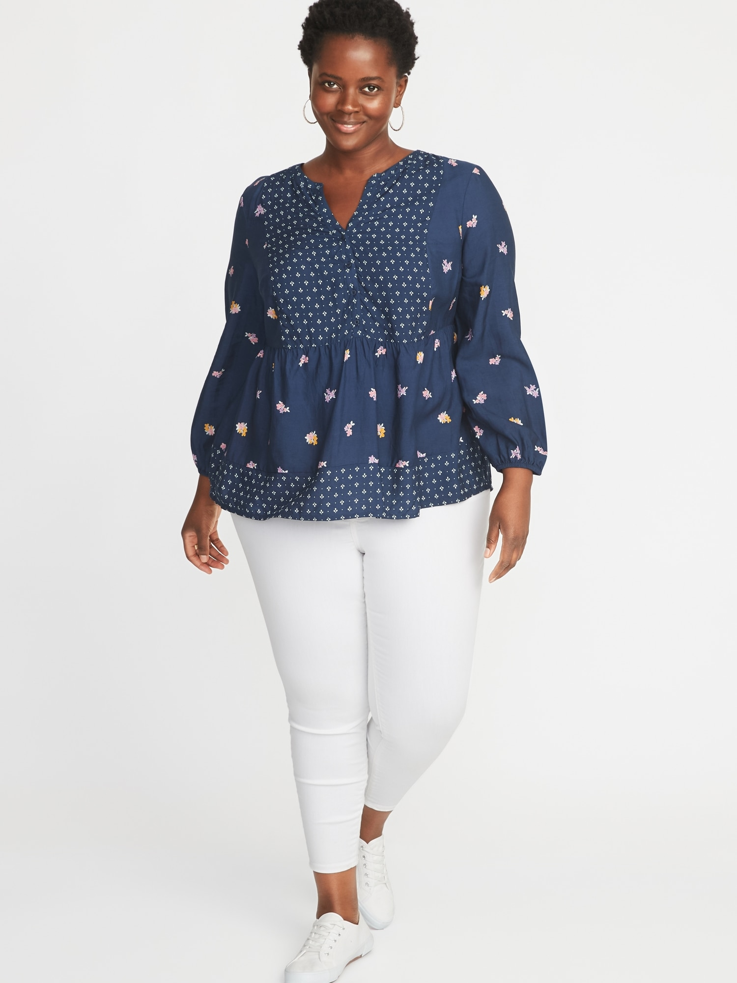 ce6f0be40fd Mixed-Print Plus-Size Poet-Sleeve Blouse