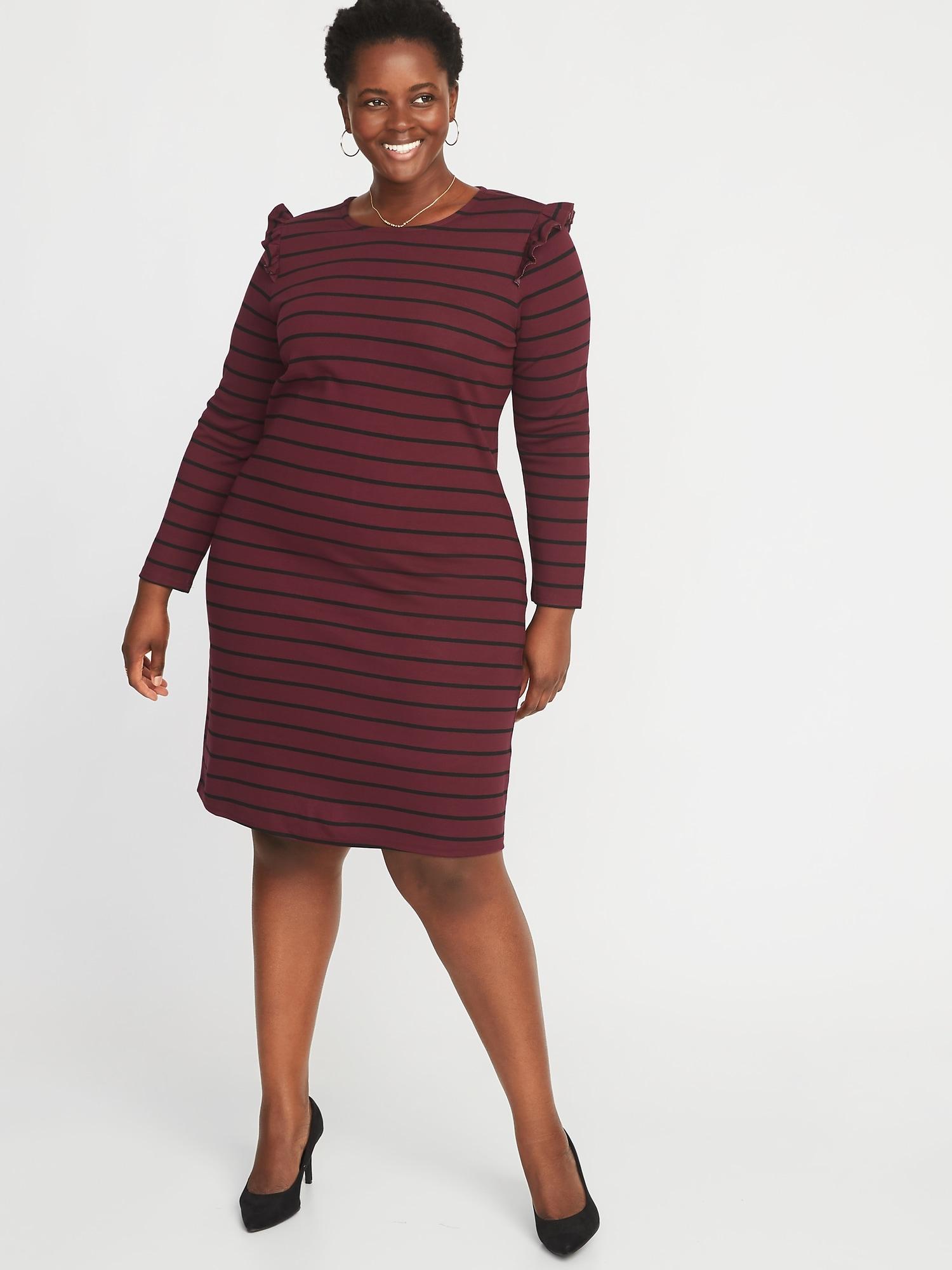 Plus-Size Ruffle-Trim Ponte-Knit Shift Dress | Old Navy
