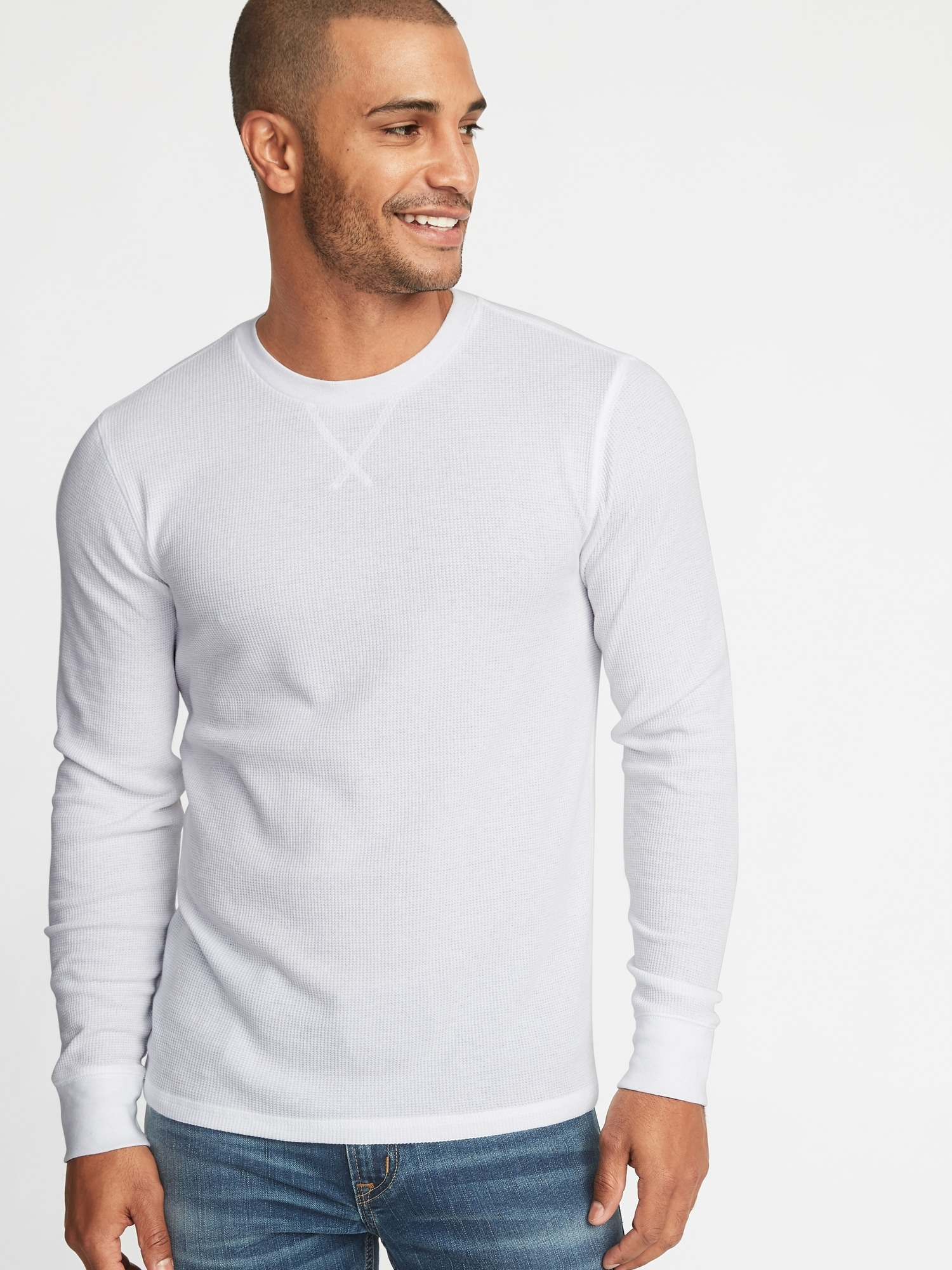 59a1f77d951 Soft-Washed Thermal-Knit Crew-Neck Tee for Men