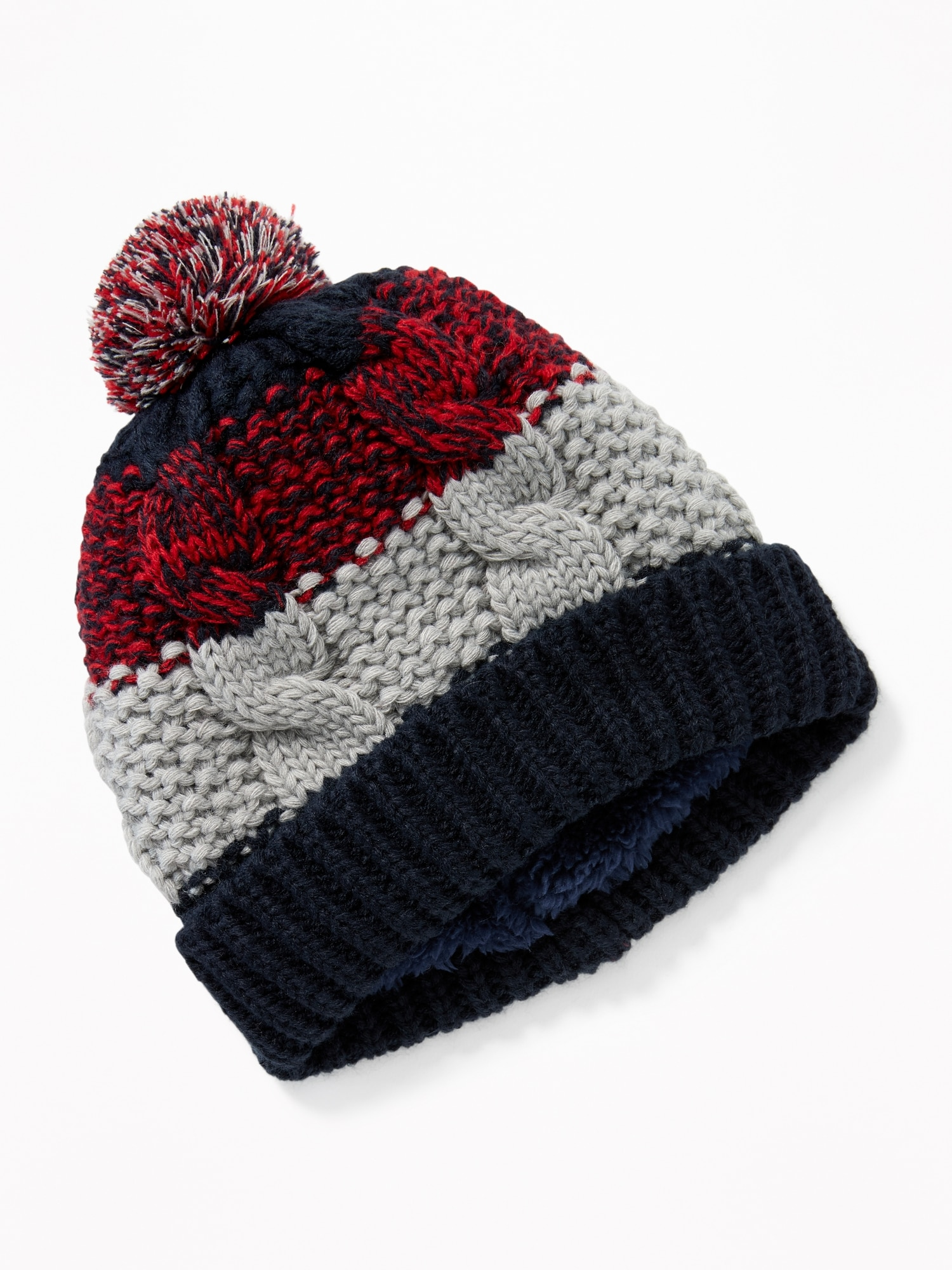Sherpa-Lined Pom-Pom Beanie for Boys  f34a3f523451