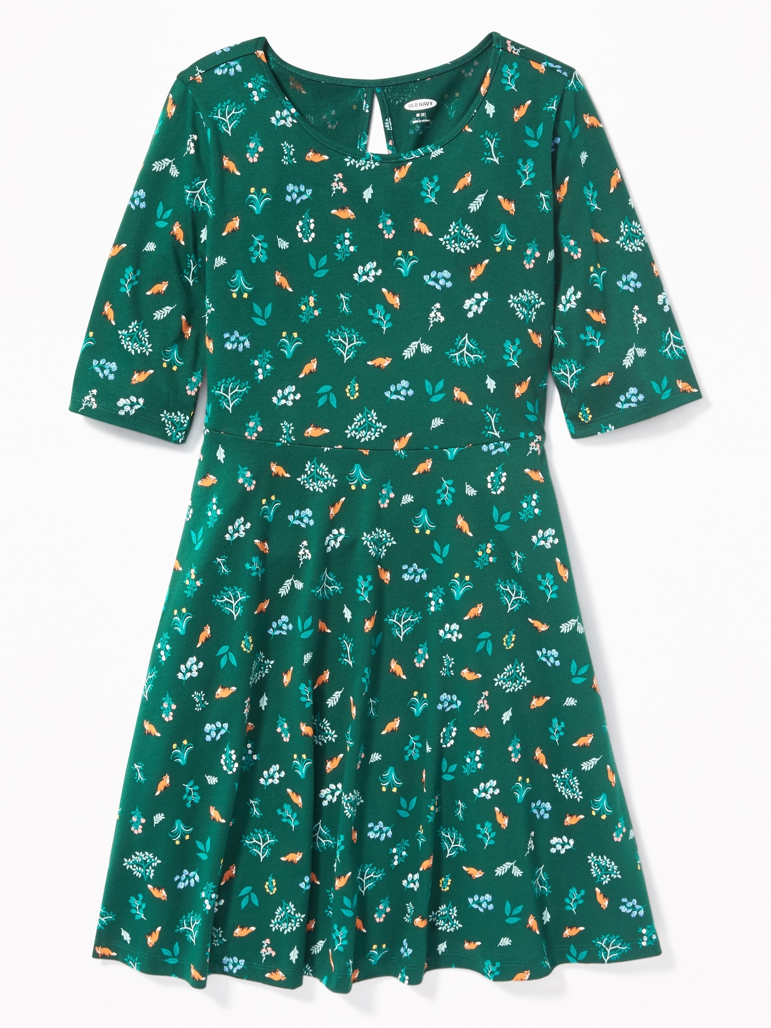 0628c034871c3 Patterned Jersey Fit   Flare Dress for Girls