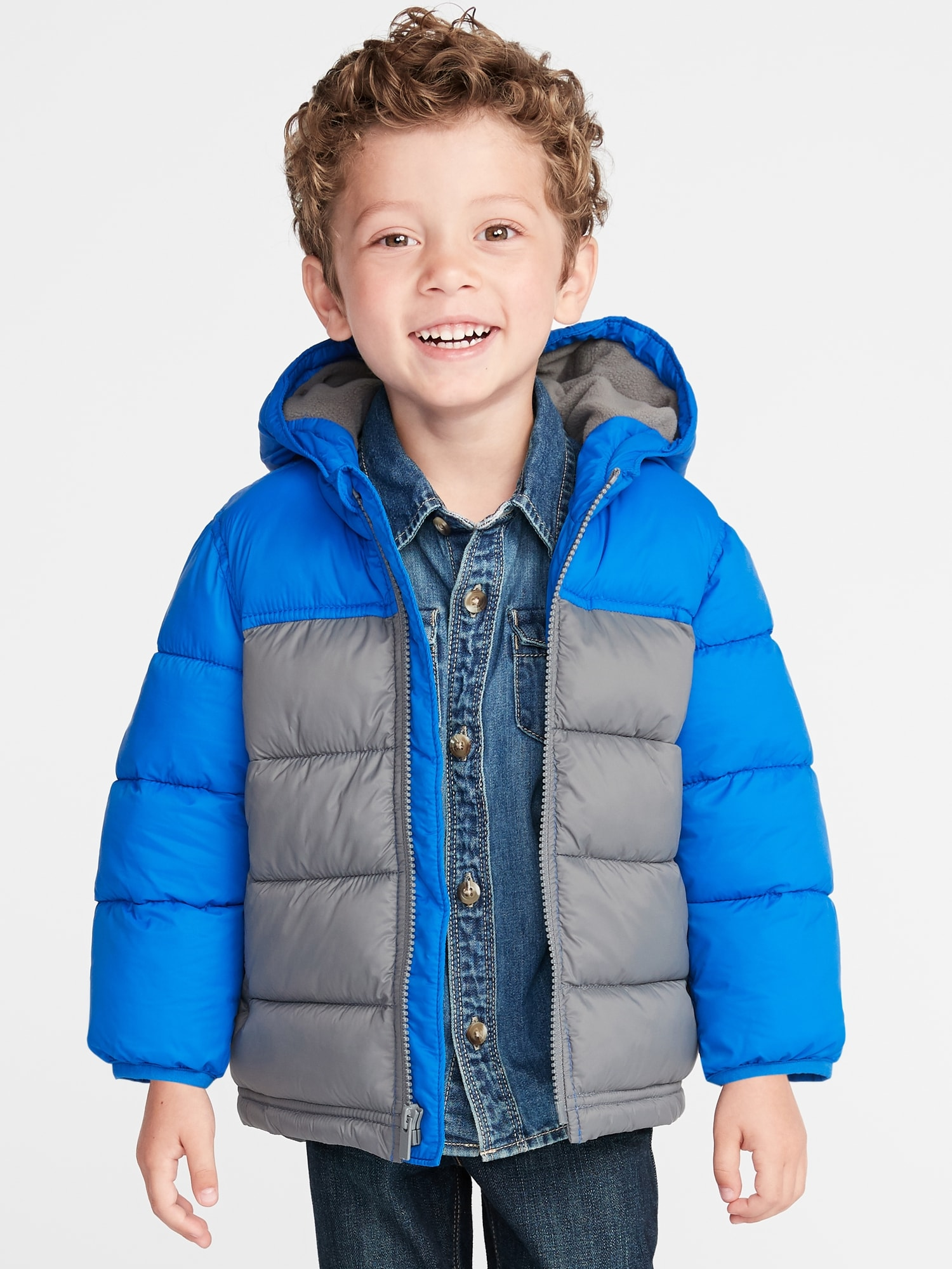 d19a441d7af4 Color-Blocked Hooded Frost-Free Puffer Jacket for Toddler Boys