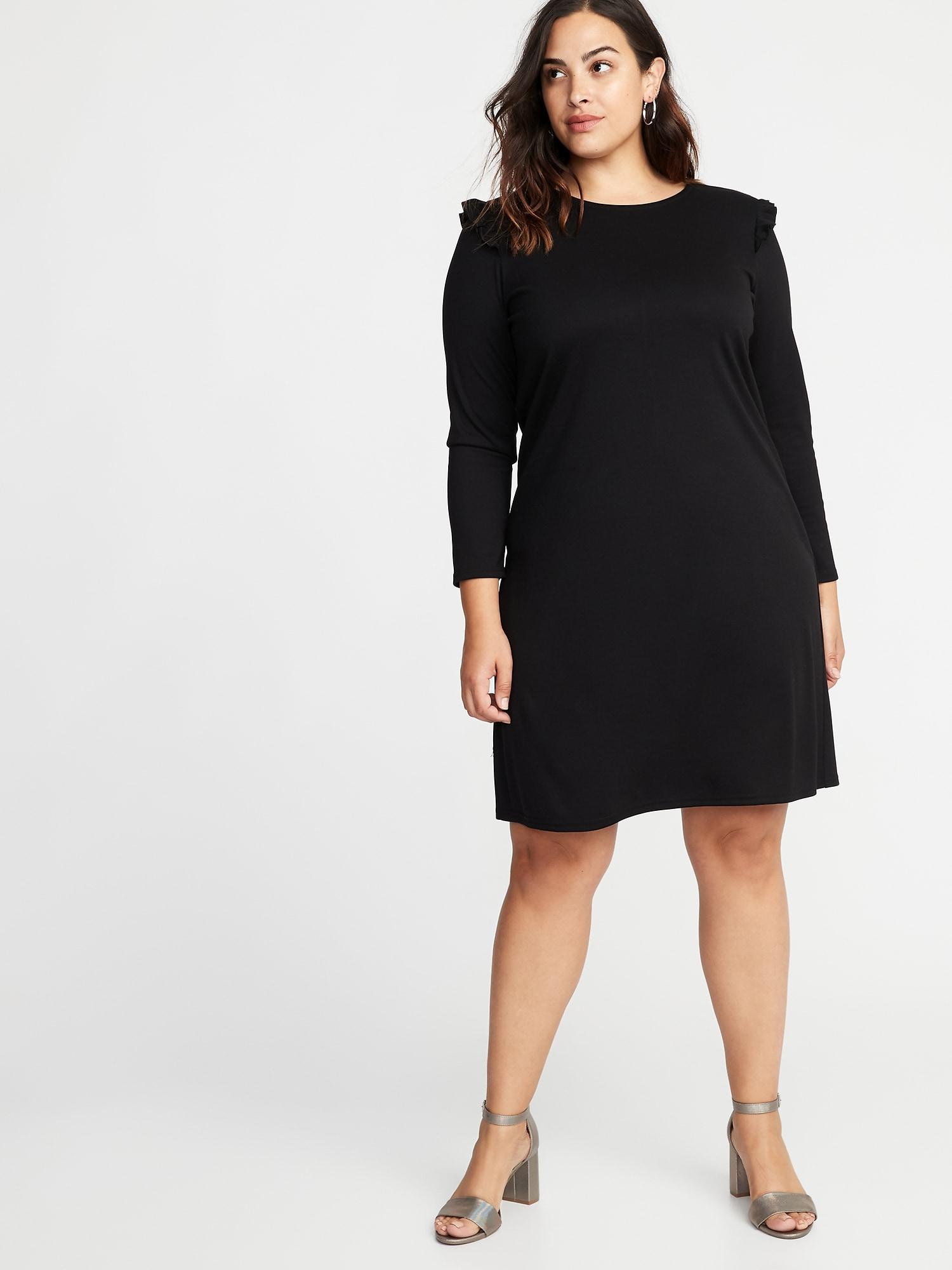 06066bc711adff Plus-Size Ruffle-Trim Ponte-Knit Shift Dress