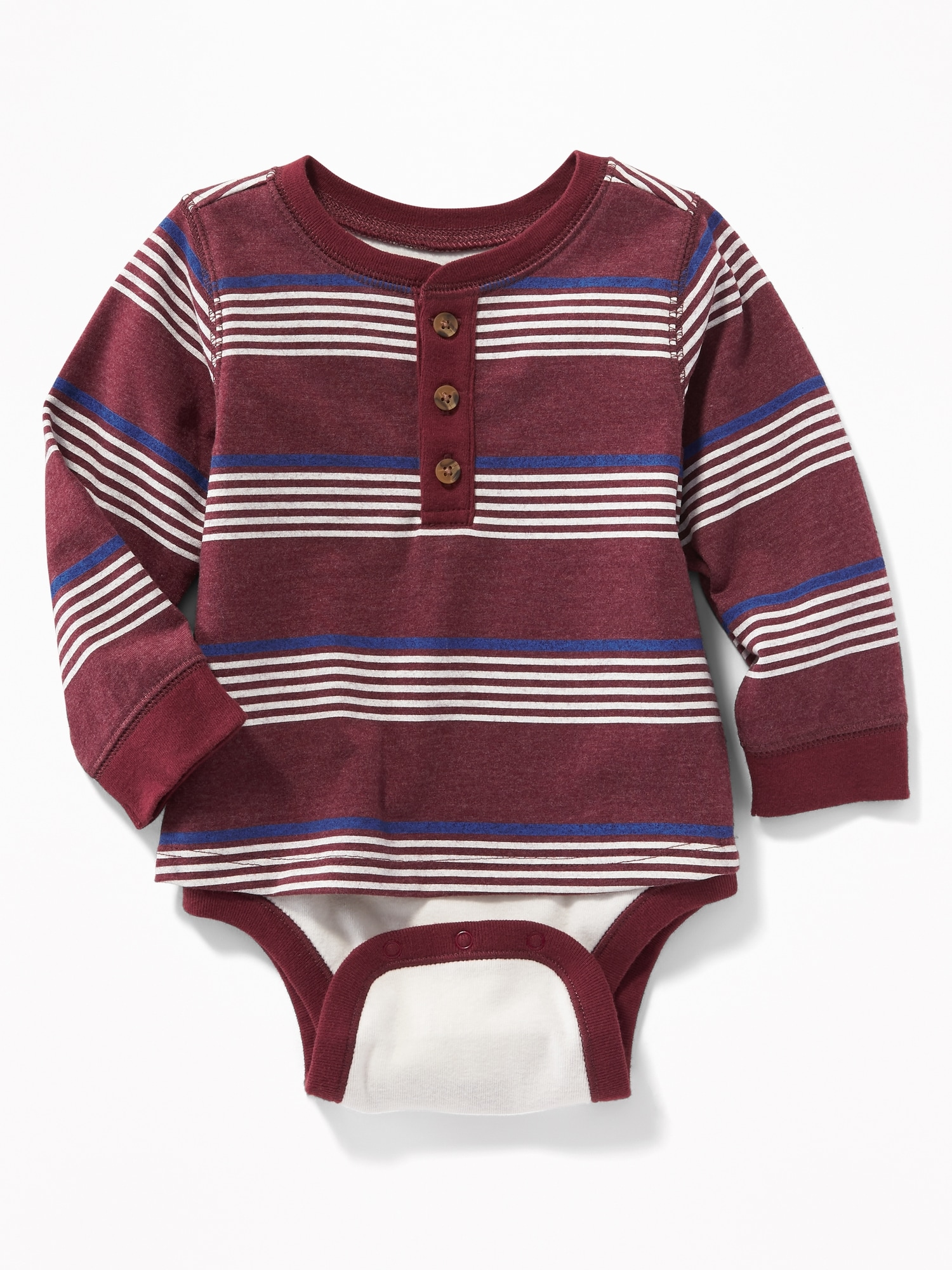 ddb6aeb5f 2-in-1 Striped Henley Bodysuit for Baby | Old Navy