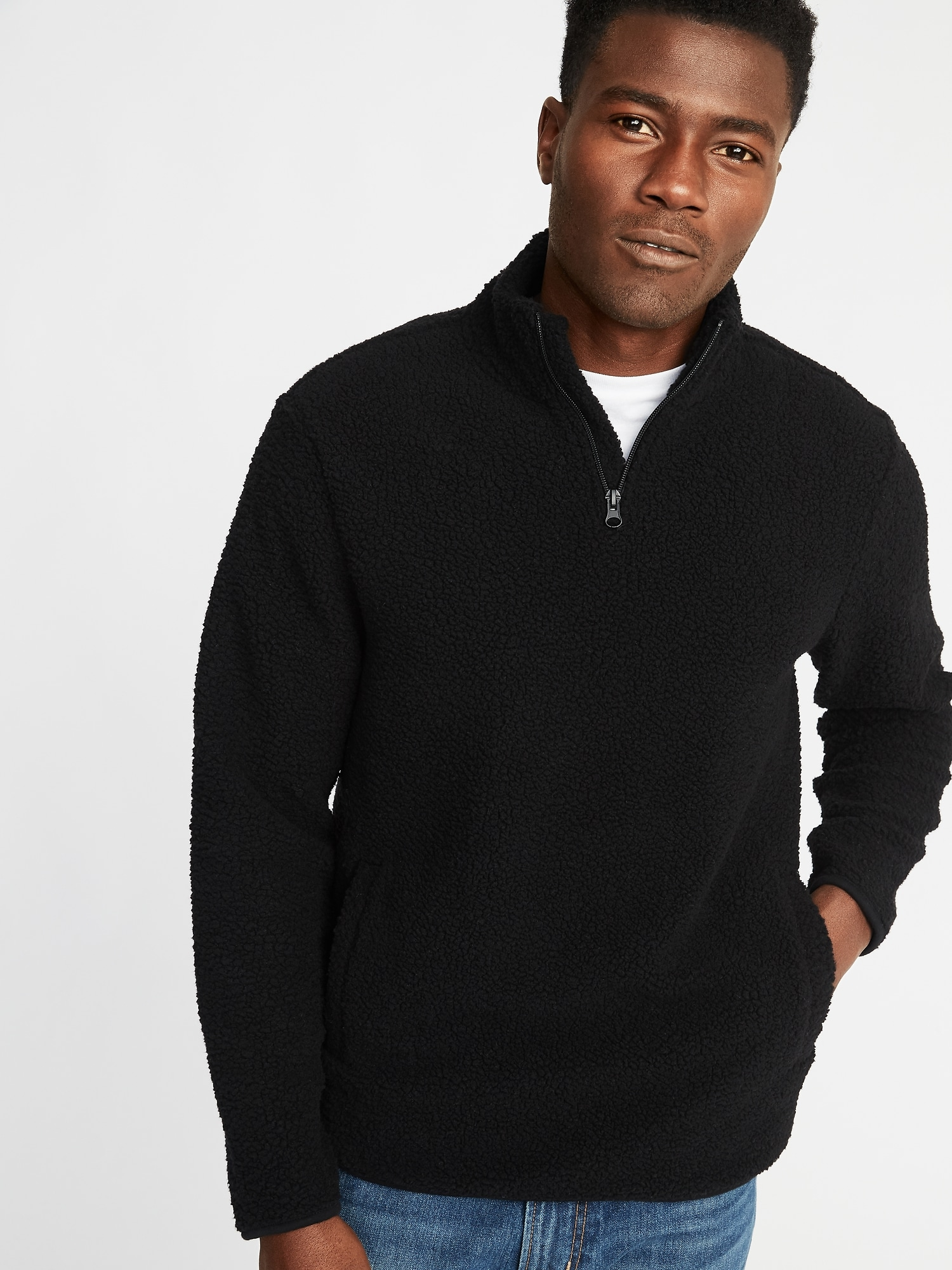 1/4 Zip Sherpa Popover For Men by Old Navy