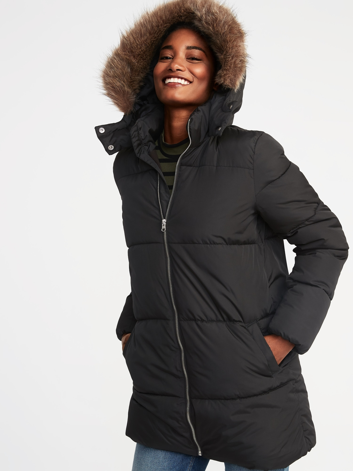 Hooded Frost Free Long Puffer Jacket For Women Old Navy