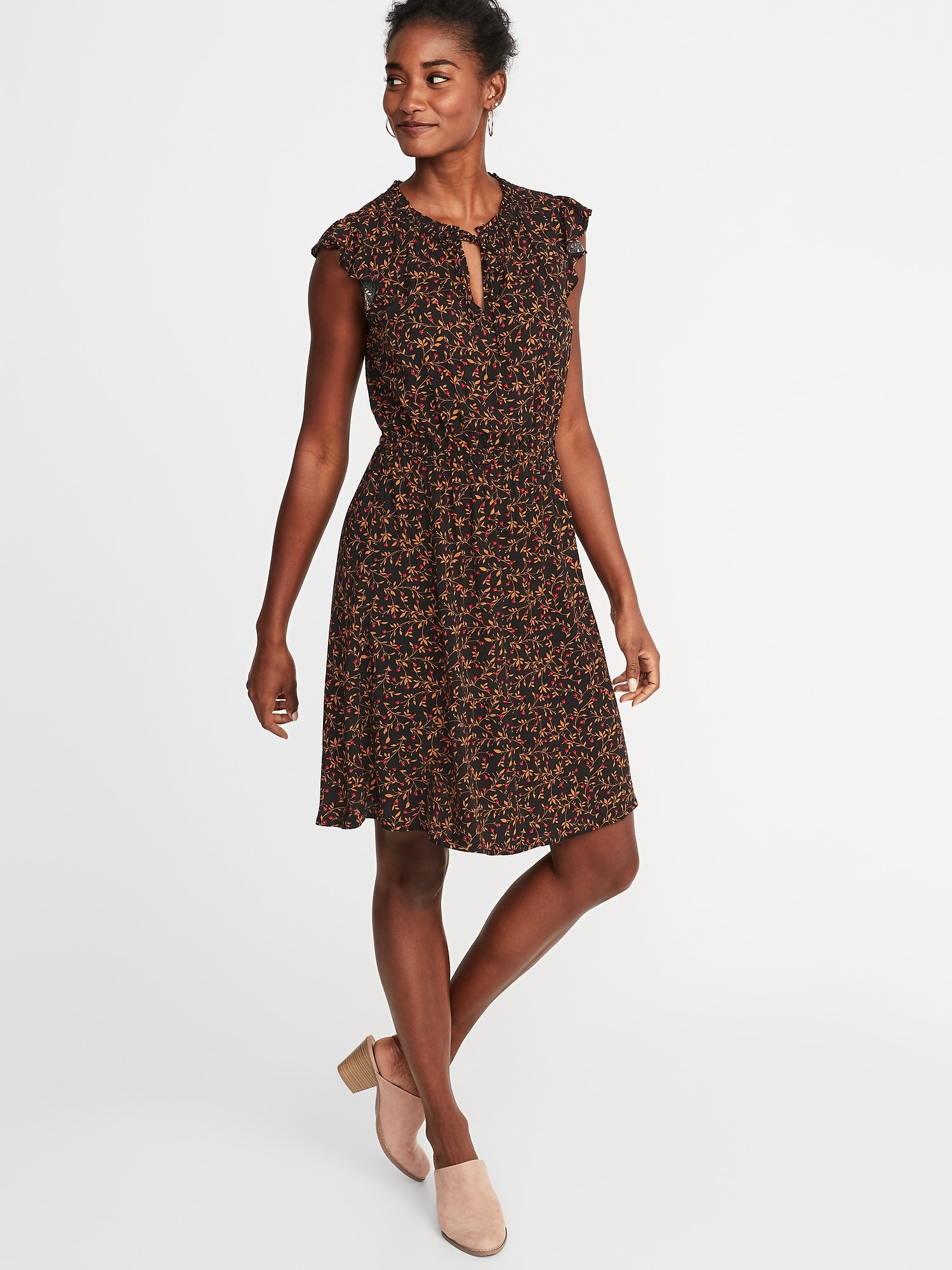 waist-defined flutter-sleeve dress for women | old navy