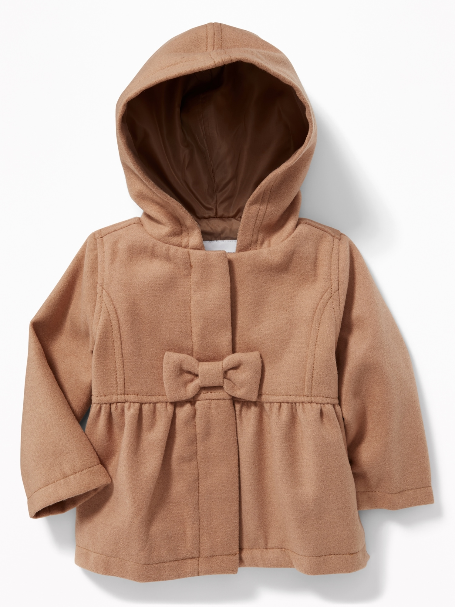 b299535fb965 Hooded Bow-Front Velour Coat for Baby