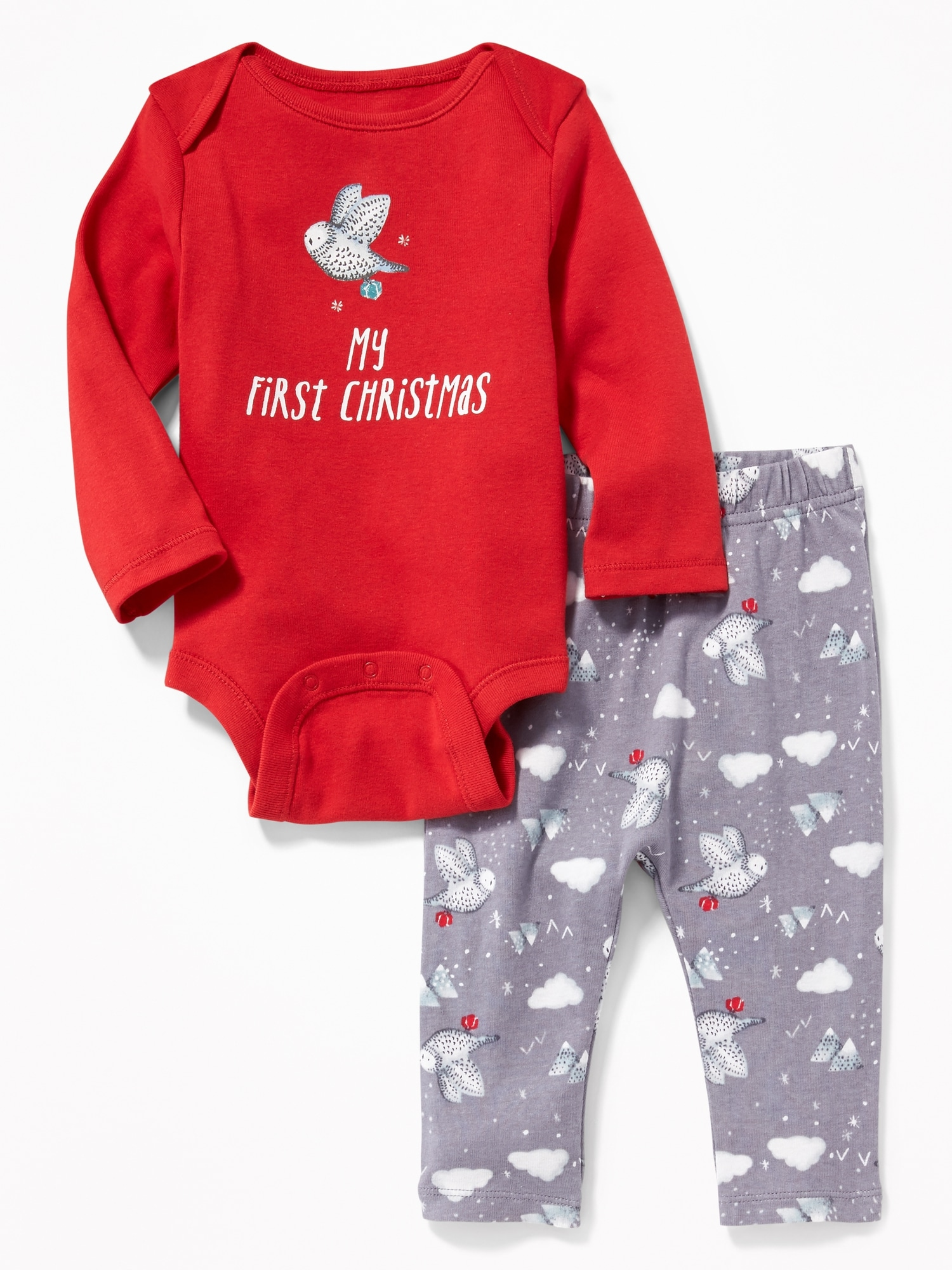 87fb2636a 2-Piece Holiday-Graphic Bodysuit   Pants Set for Baby