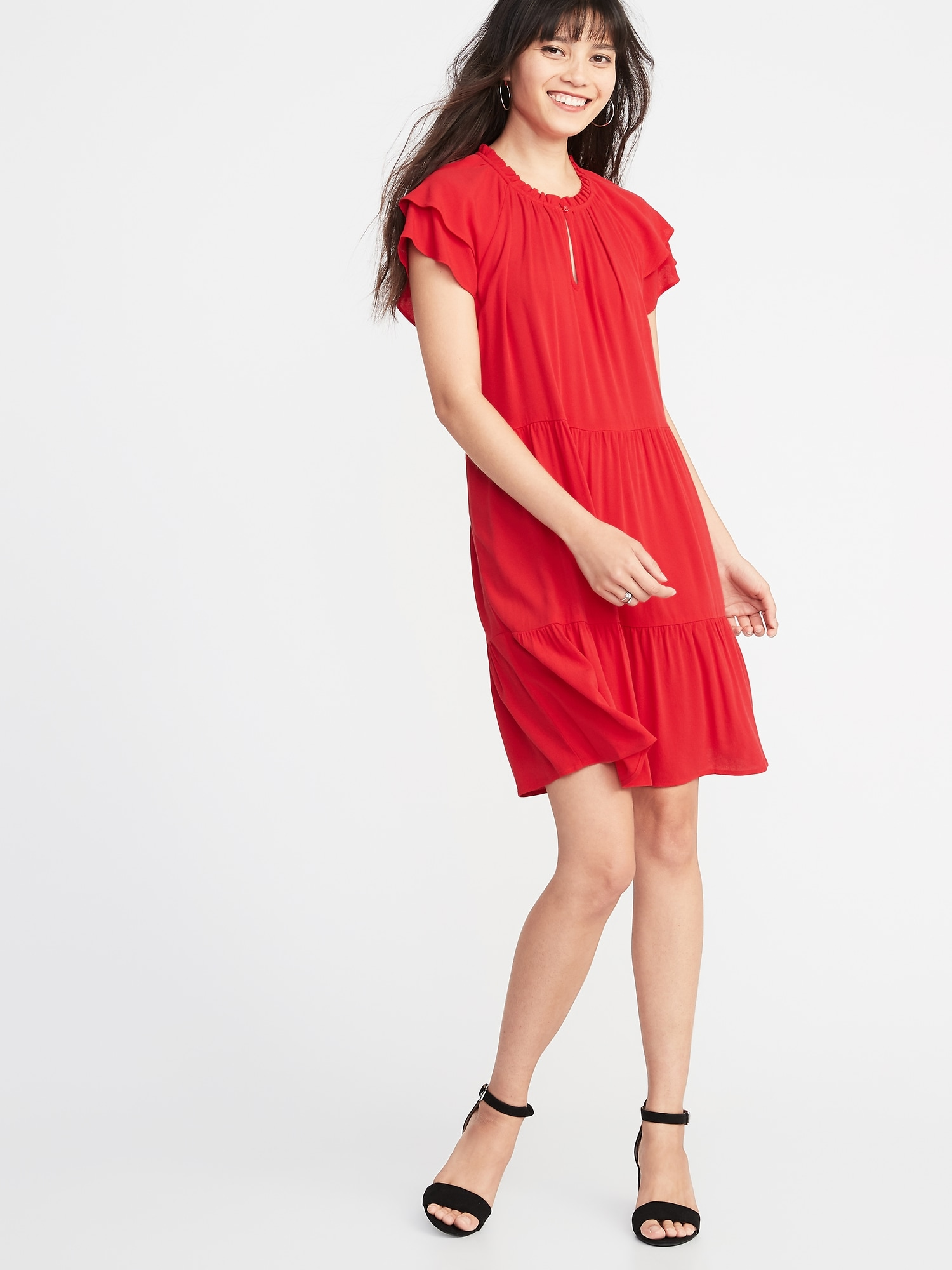 3e96c6e729f High-Neck Ruffle-Trim Swing Dress for Women