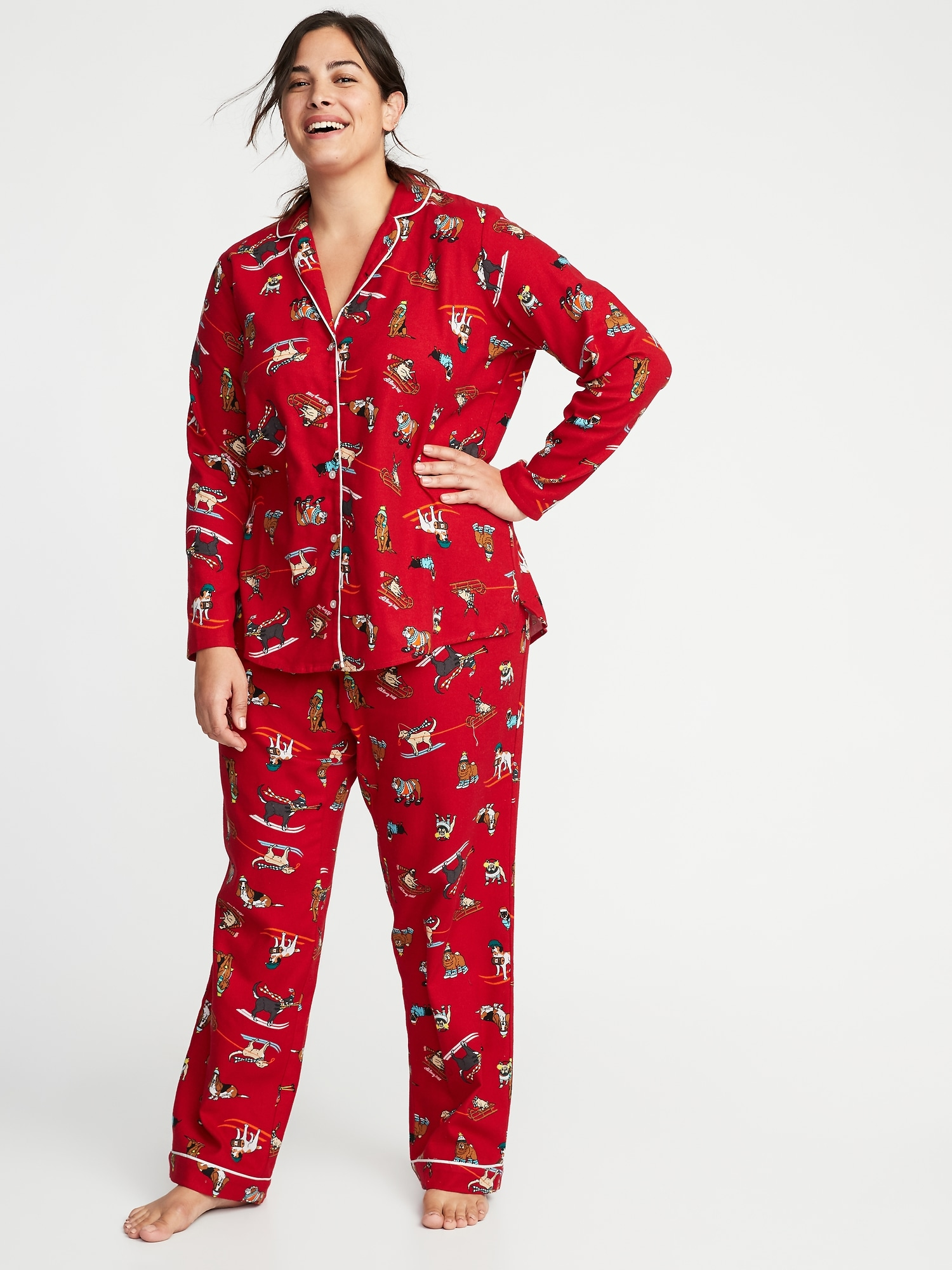 5fbc38725960 Plus-Size Printed Flannel Sleep Set