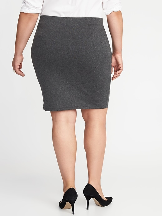 Secret-Slim Ponte-Knit Plus-Size Pencil Skirt