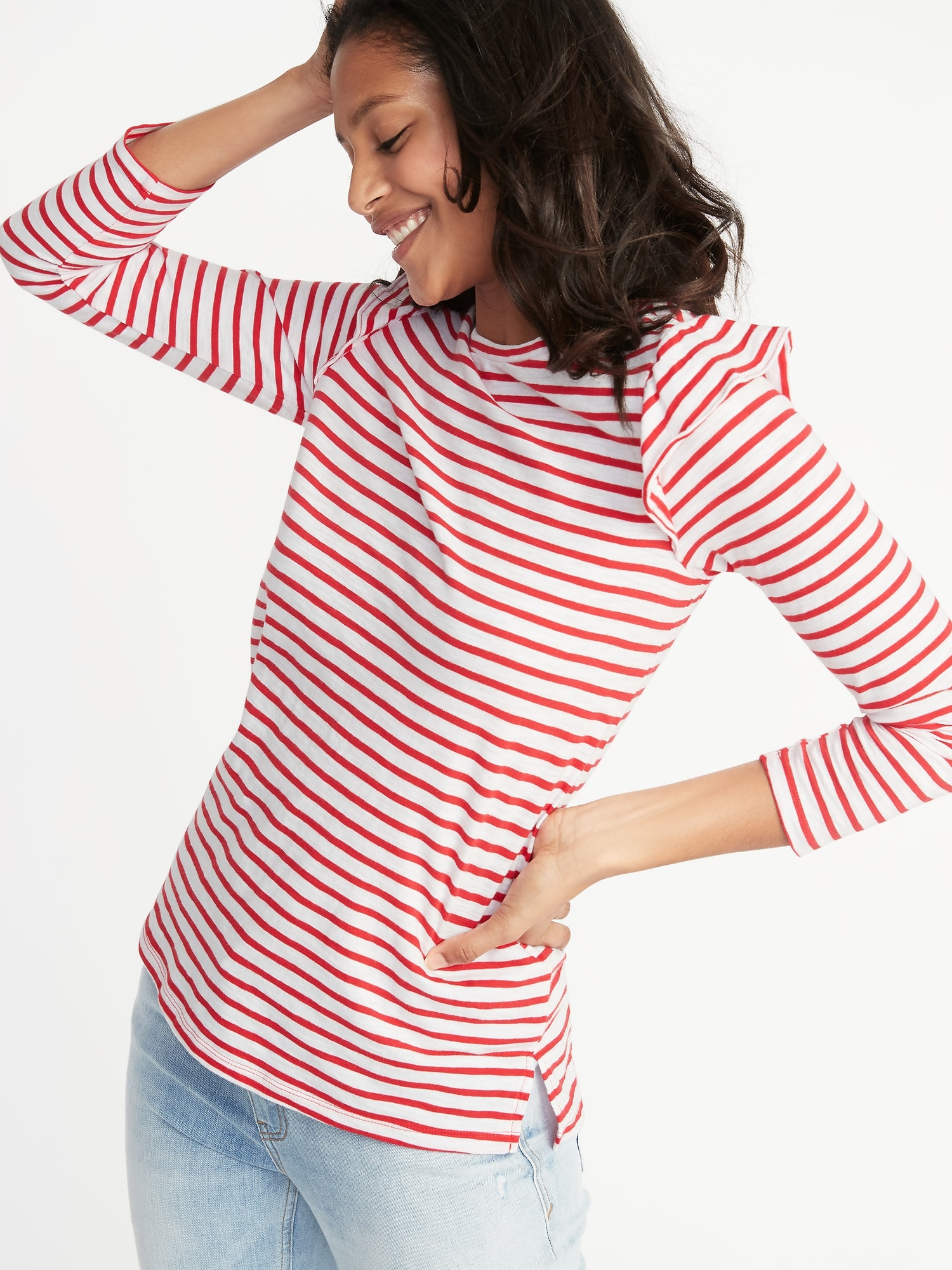 0535960daae082 Relaxed Ruffle-Trim Slub-Knit Top for Women