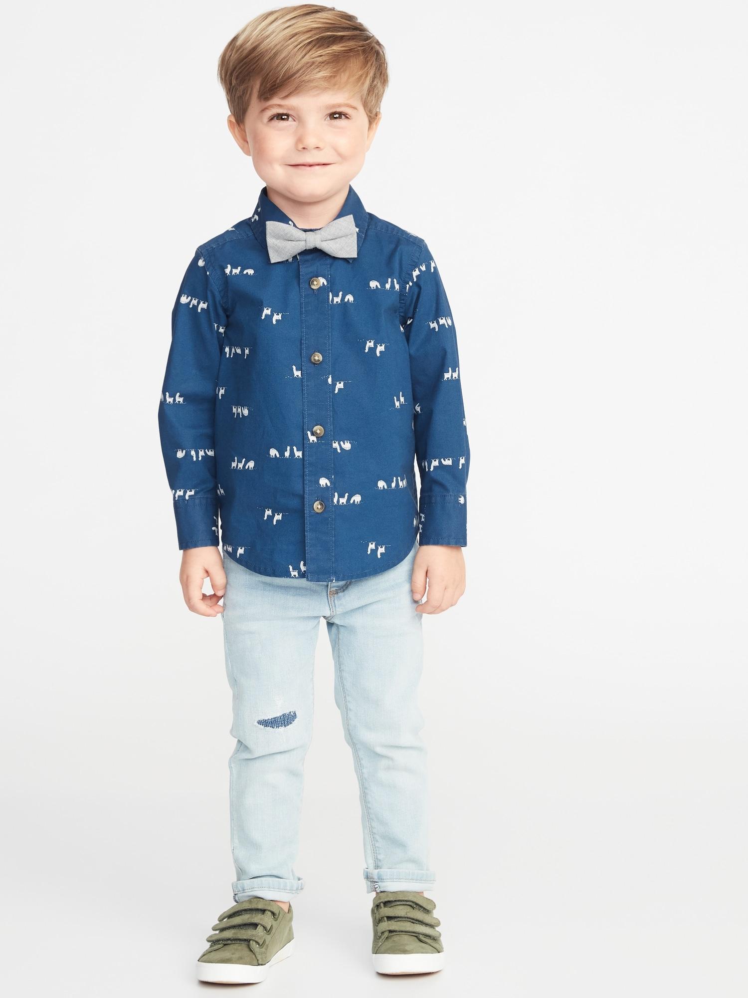 2ec79dd75 Printed Shirt   Bow-Tie Set for Toddler Boys