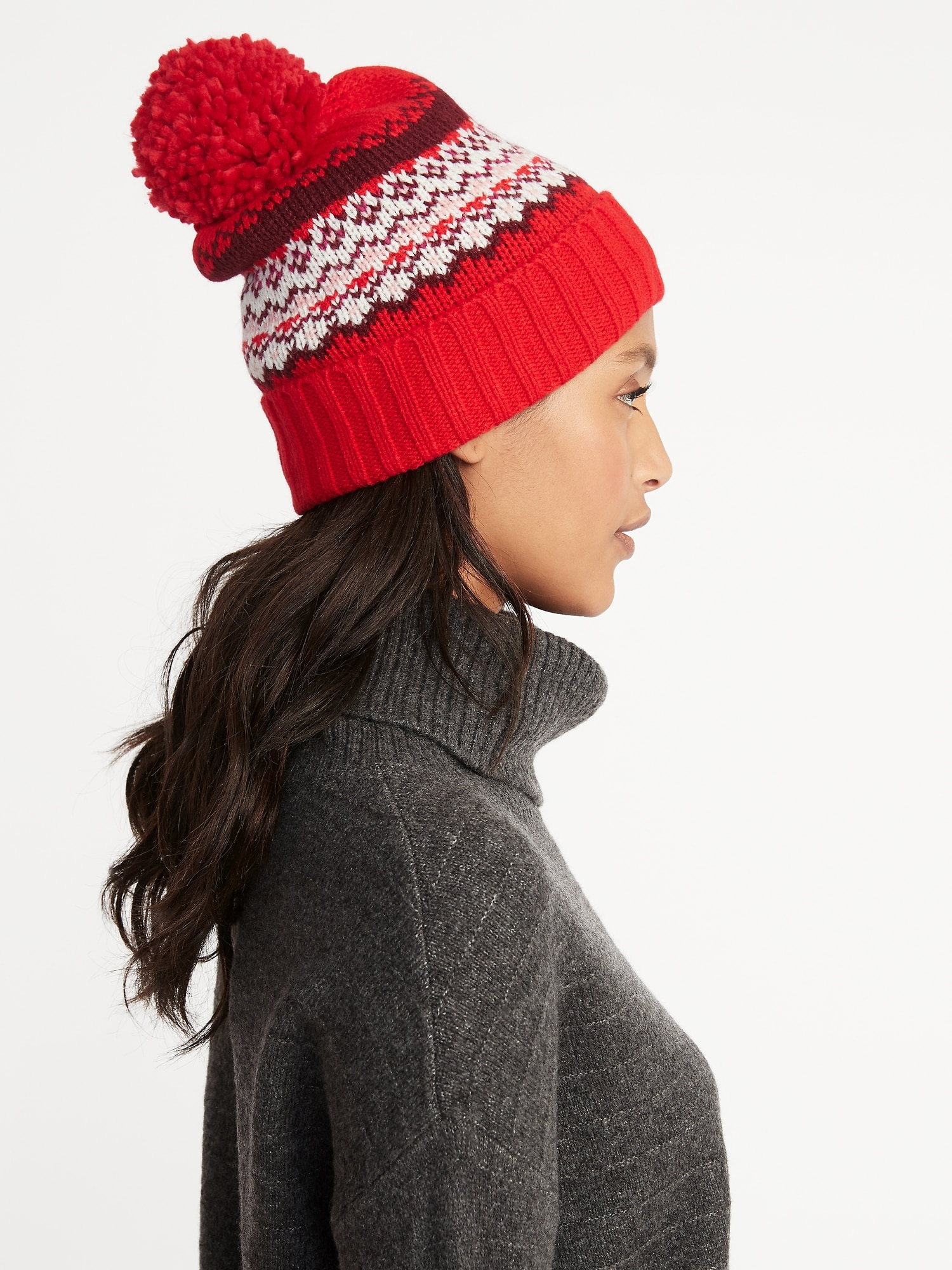 Printed Sweater-Knit Pom-Pom Beanie for Women  31146c76a0b2
