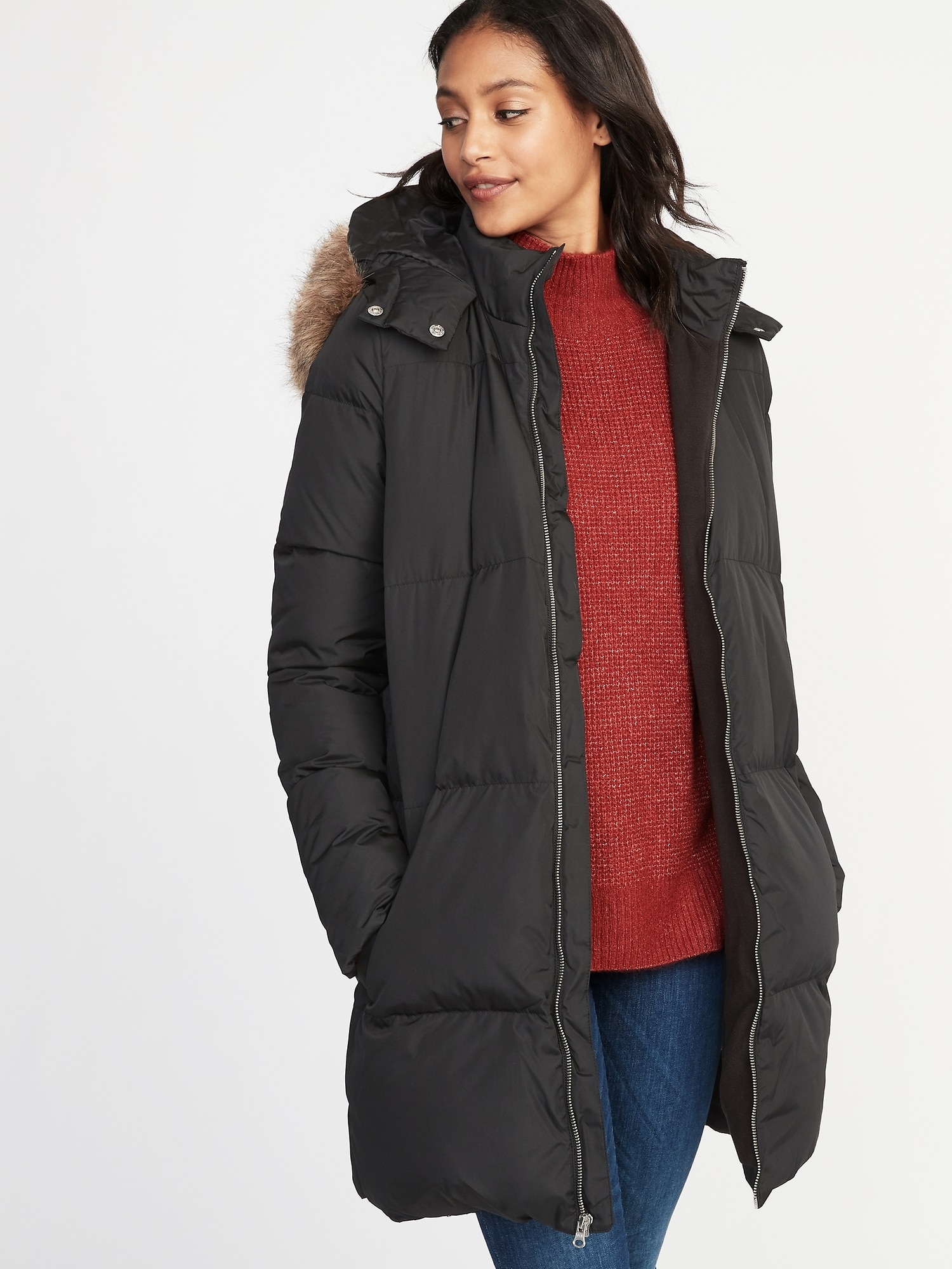 78fe5aa1c23 Long frost free hooded down feathers puffer jacket for women old jpg  1500x2000 Puffer coats old