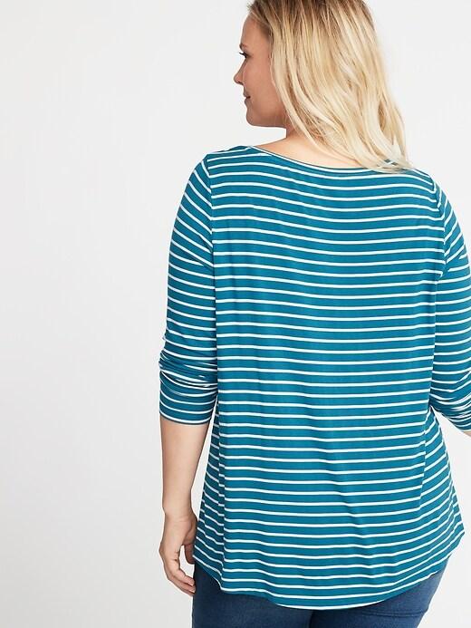 d50406fe91f Luxe Plus-Size Striped Swing Tee