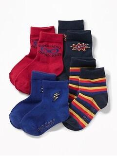 Patterned Crew Socks 4-Pack For Toddler Boys & Baby