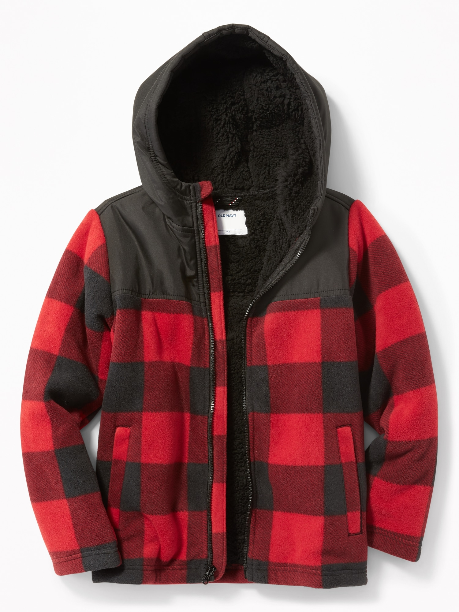 c05b91fc5 Mixed-Fabric Sherpa-Lined Hooded Jacket for Boys | Old Navy