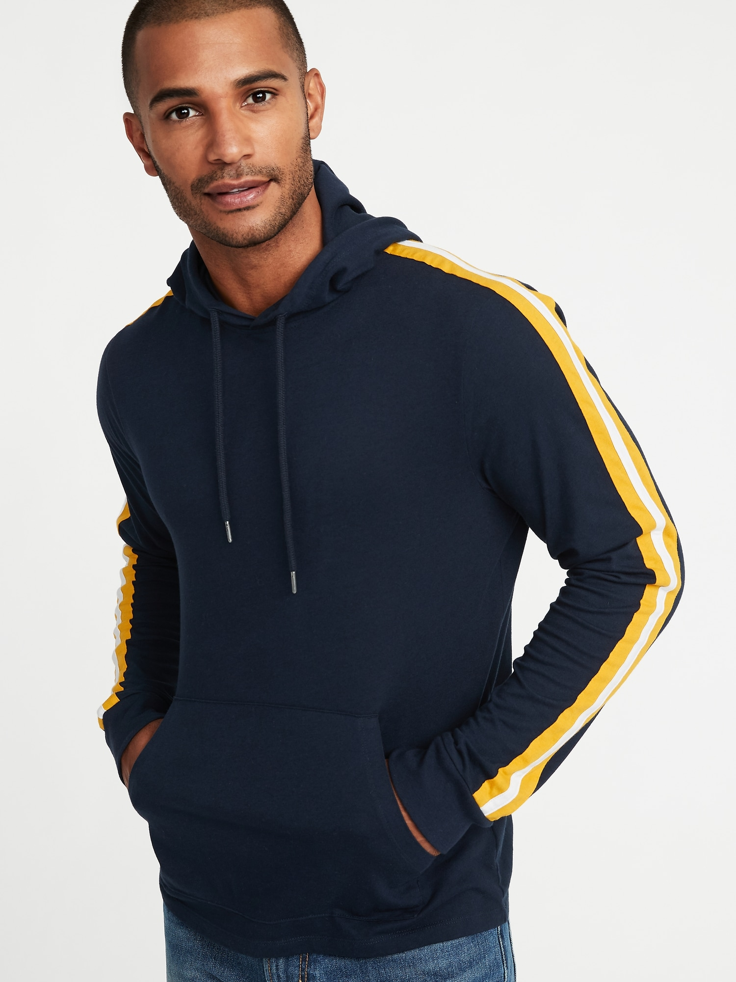 ce84f5d0 Lightweight Jersey Sleeve-Stripe Pullover Hoodie for Men