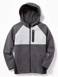 Dynamic Fleece Color-Block  Zip Hoodie for Boys