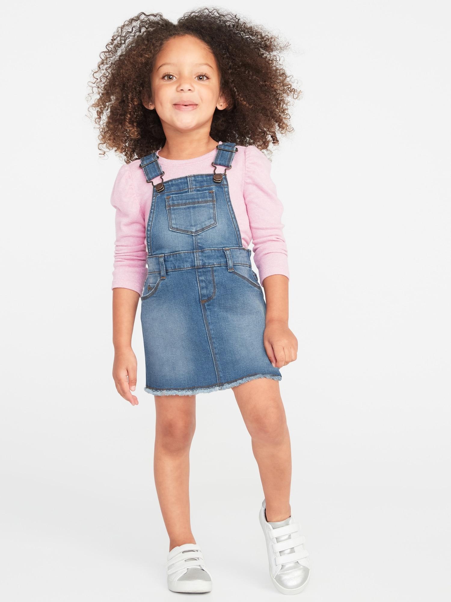 59f033261 Raw-Edge Denim Skirtalls for Toddler Girls | Old Navy