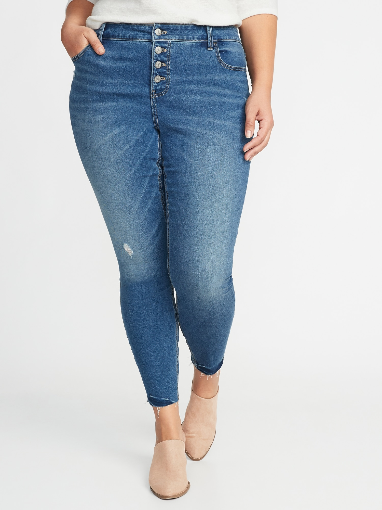 f1411b17d82 High-Rise Secret-Slim Plus-Size Button-Fly Rockstar Jeans