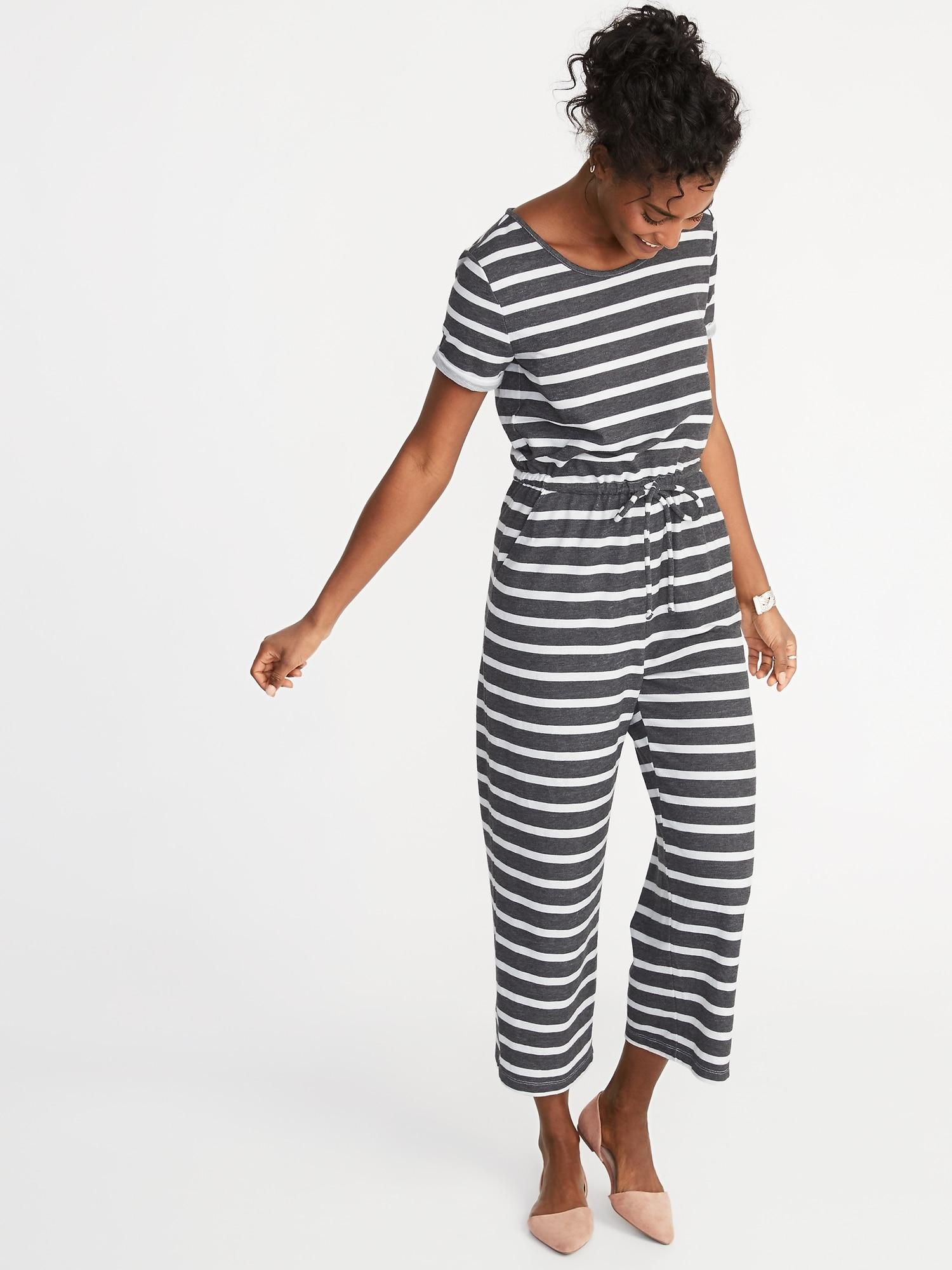 5c2aa75ed713 Waist-Defined Wide-Leg Bouclé-Jersey Jumpsuit for Women