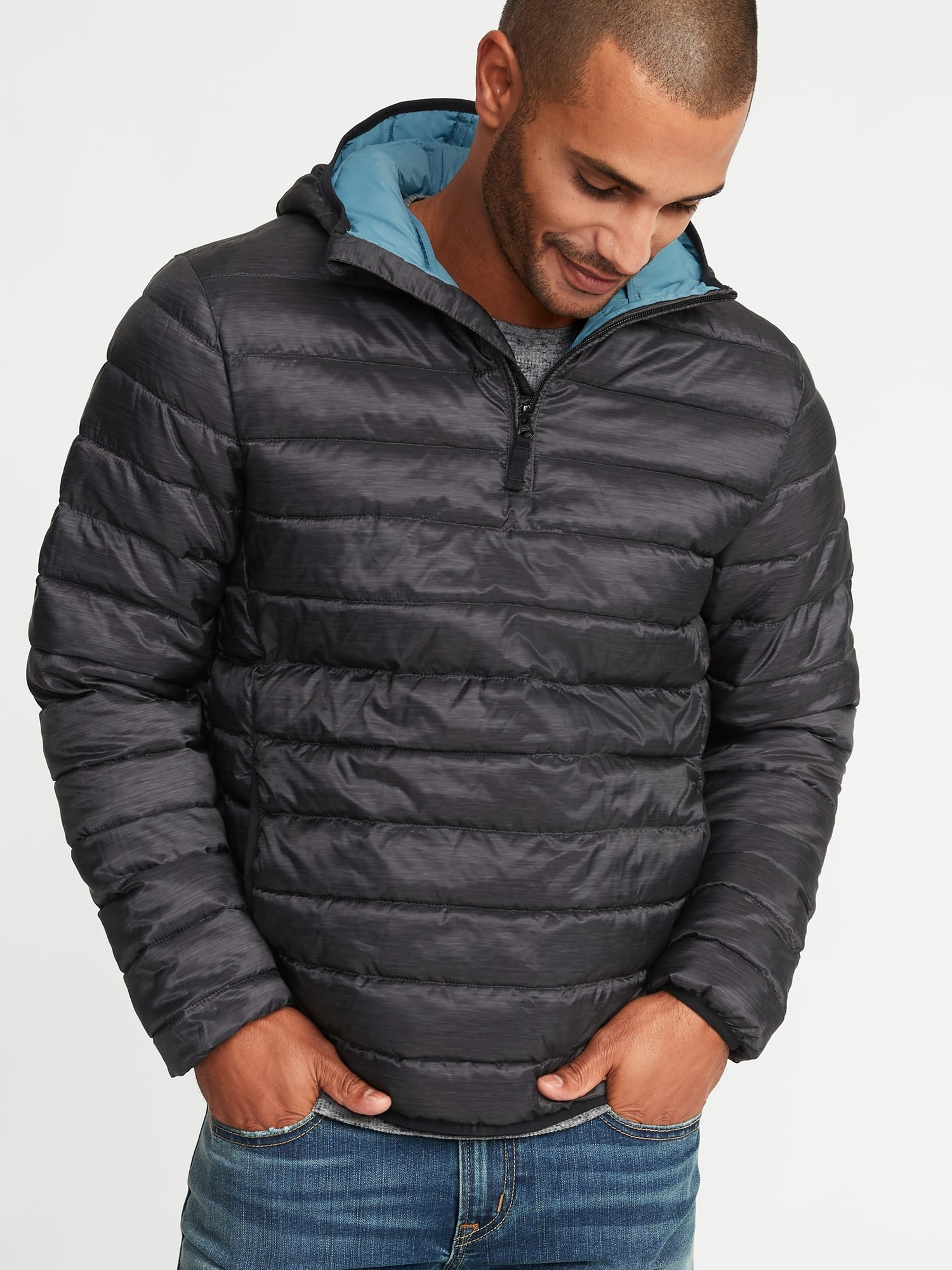 874bf1200f Water-Resistant Quilted 1 4-Zip Hooded Jacket for Men