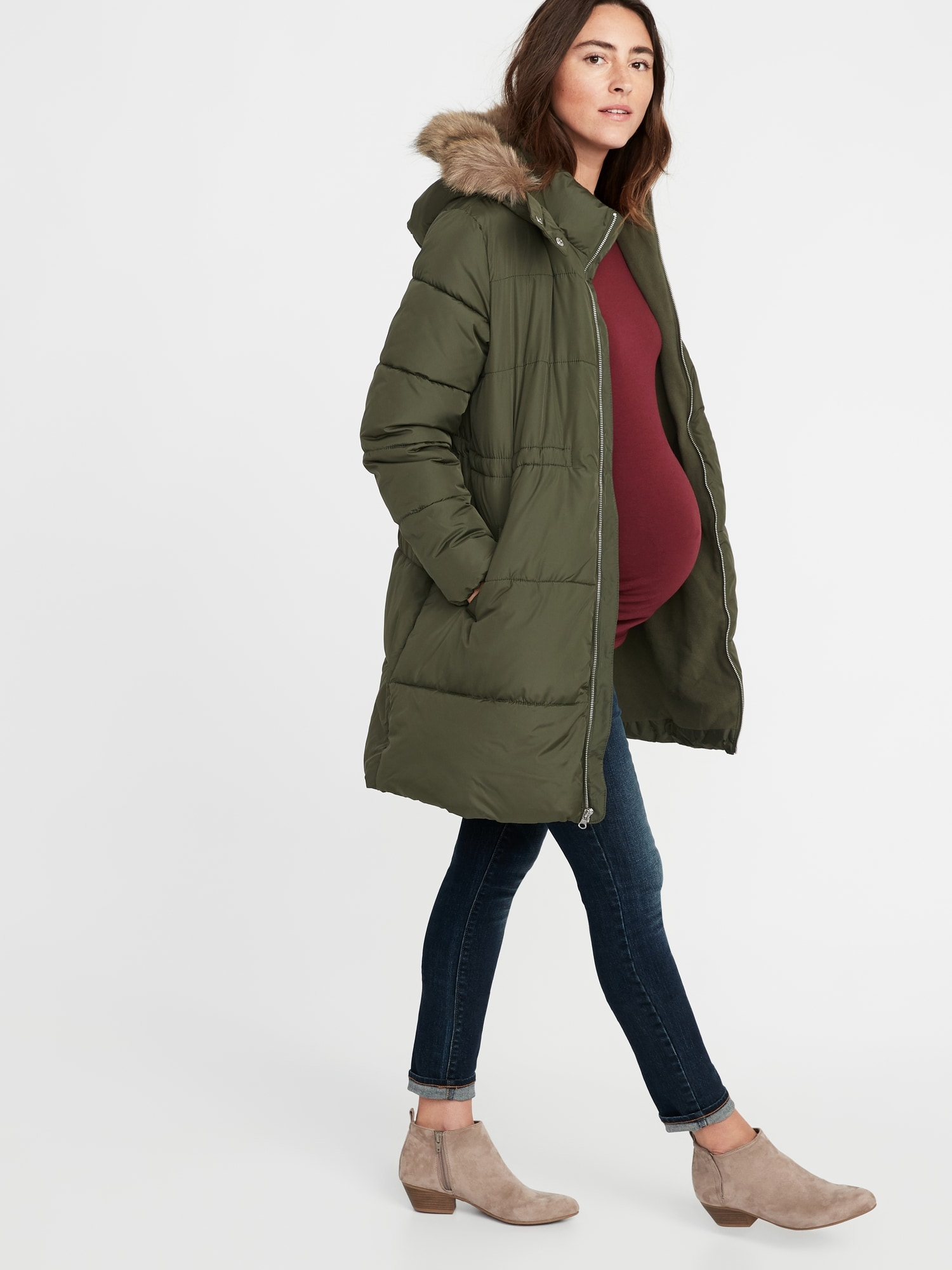 d50087a49b0bc Maternity Long-Line Hooded Frost-Free Puffer Jacket | Old Navy