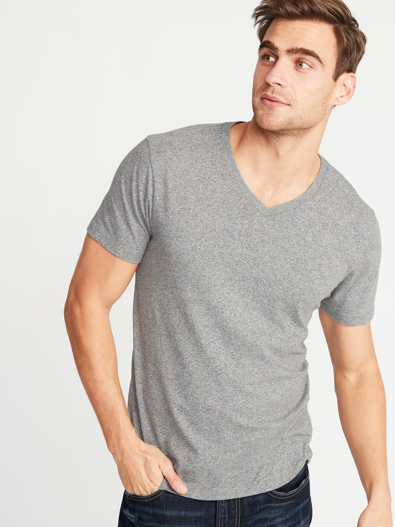 Soft Washed Heathered V Neck Tee For Men Old Navy