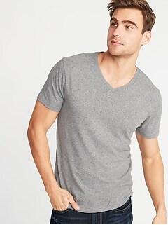 T-shirt à col enV au fini soyeux chiné bruyère pour homme