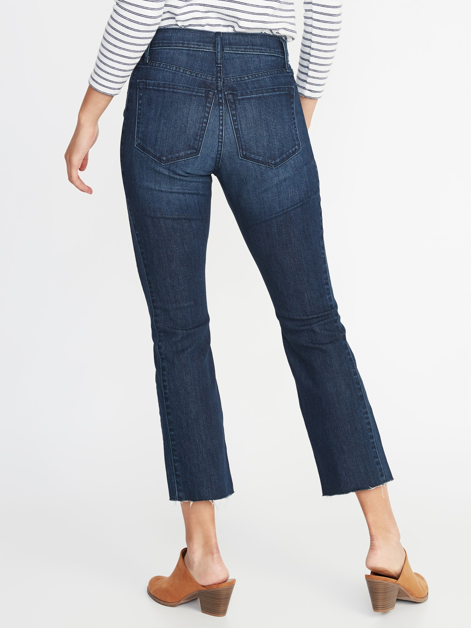 aa0cbf8a150 Raw-Edge Cropped Flare Jeans for Women