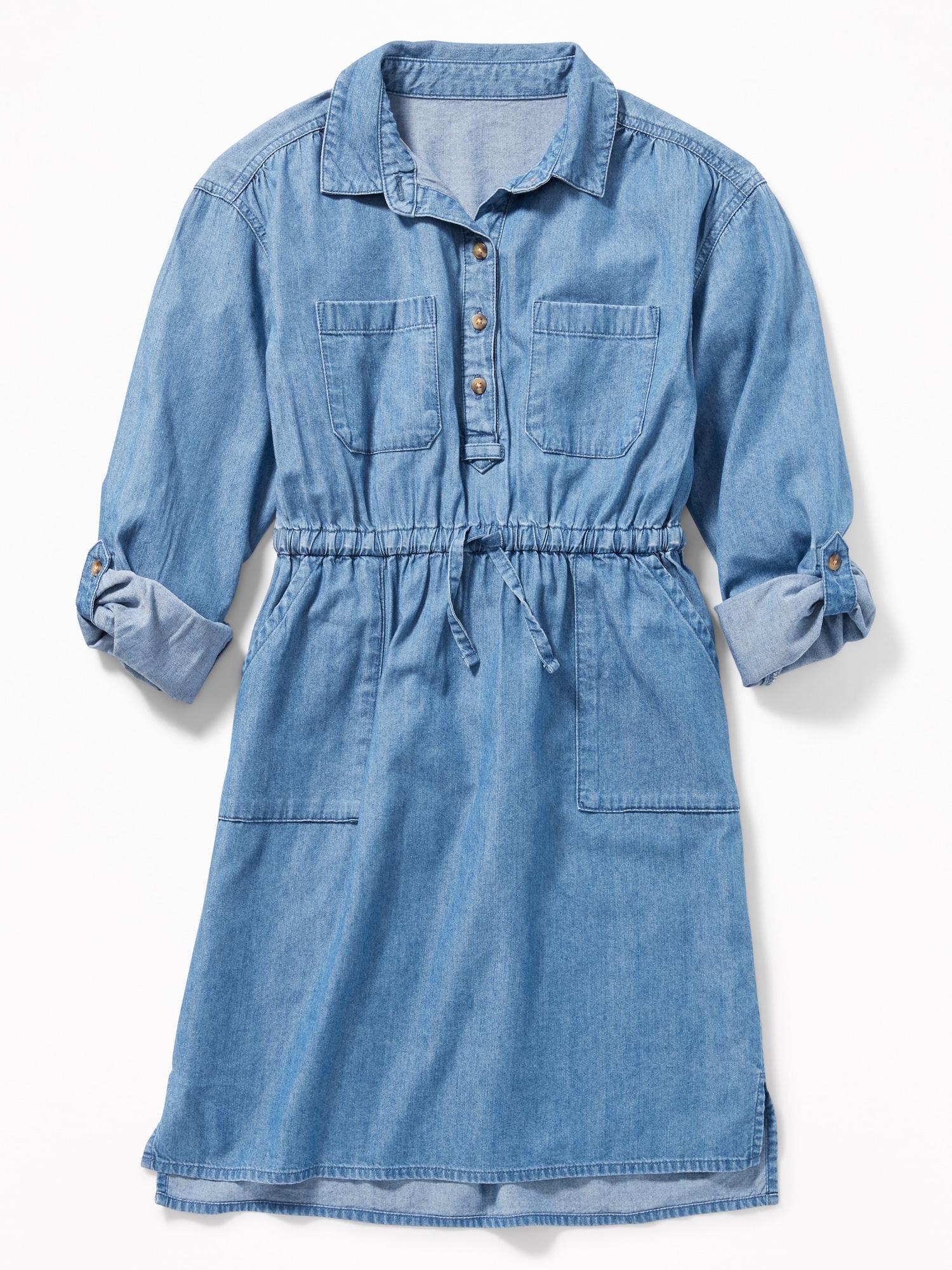 75a24420139 Waist-Defined Utility Shirt Dress for Girls