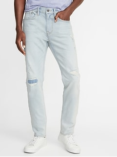Slim Built-In Flex Distressed Jeans For Men