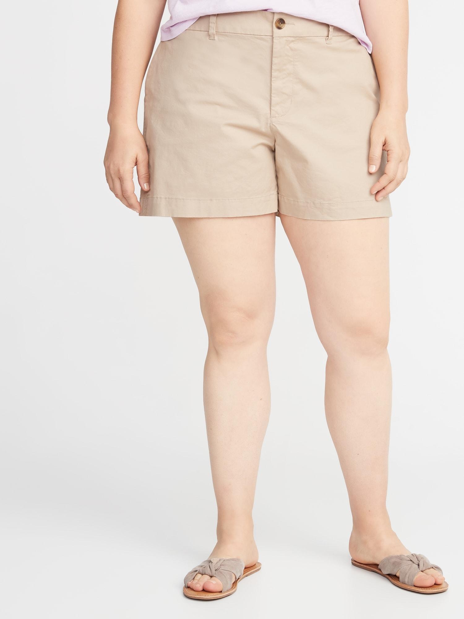 71b066cab70 Mid-Rise Plus-Size Everyday Twill Shorts - 5 Inch Inseam