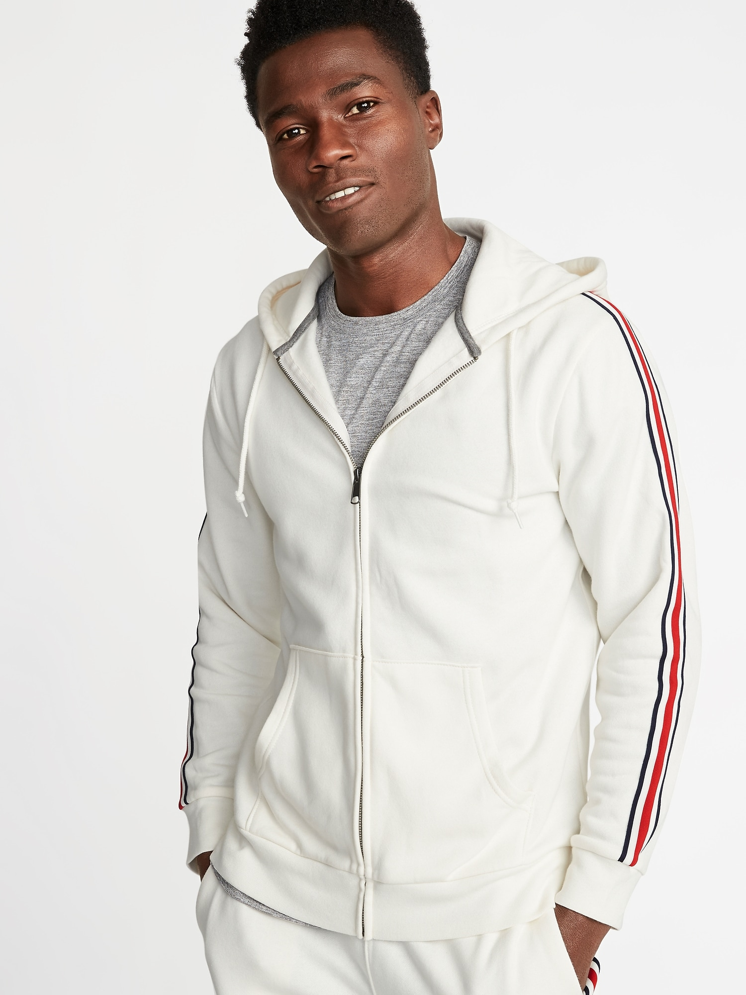 05ac4a4a6 Classic Striped-Sleeve Zip Hoodie for Men | Old Navy