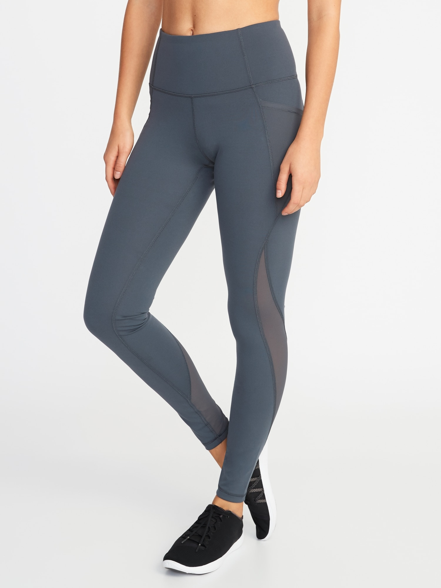 c82877c949f0 High-Rise Elevate Side-Pocket Mesh-Trim Compression Leggings for Women